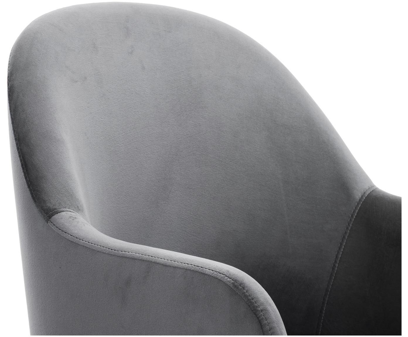Fluwelen armstoel Rachel, Bekleding: fluweel (polyester), Poten: gepoedercoat metaal, Staalgrijs, B 47 x D 64 cm