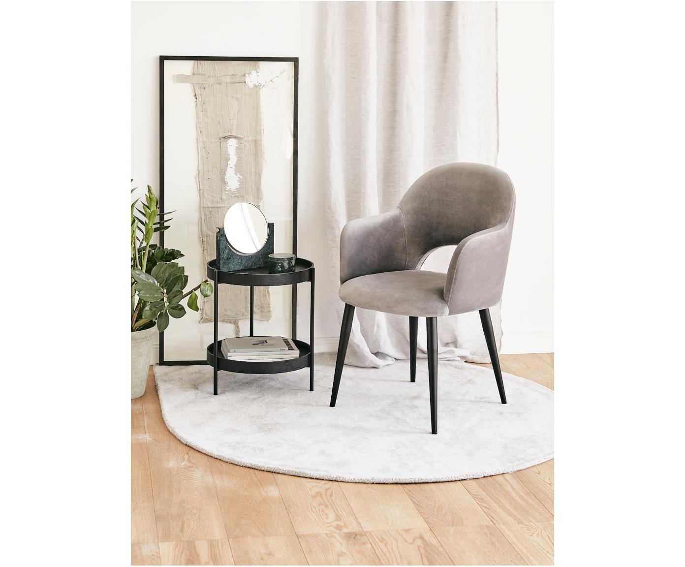 Krzesło z podłokietnikami z aksamitu Rachel, Tapicerka: aksamit (poliester) 5000, Nogi: metal malowany proszkowo, Aksamitny szary, S 47 x G 64 cm