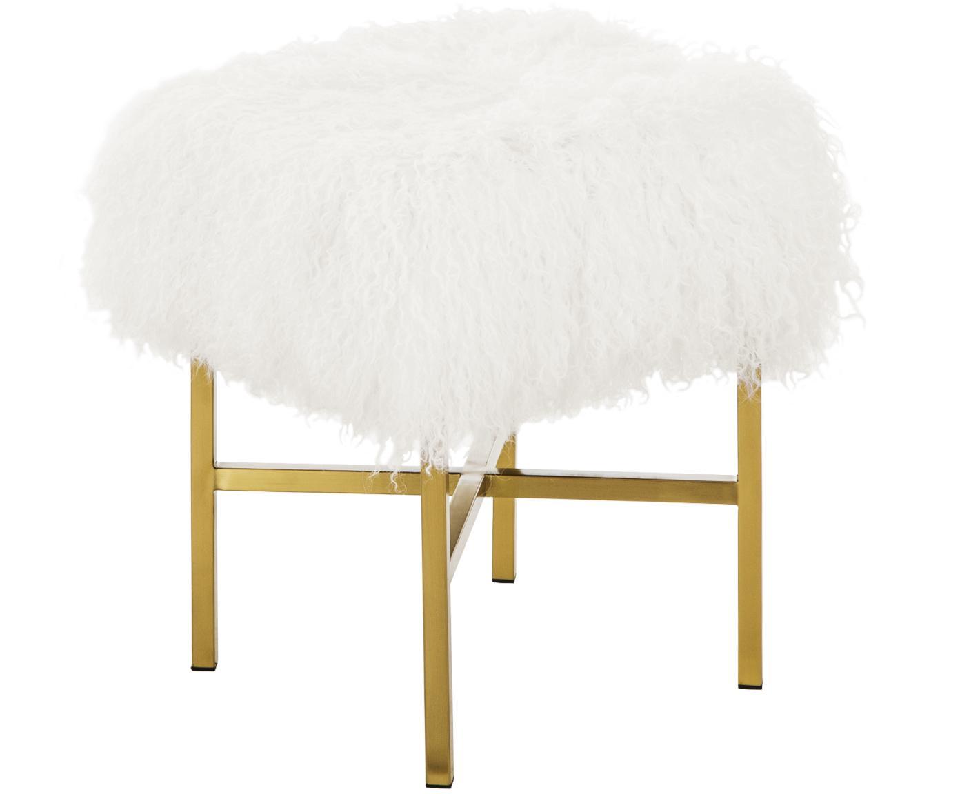 Kruk Arlo, Bekleding: Mongoolse schapenvacht, Frame: gecoat metaal, Bekleding: crèmekleurig. Poten: glanzend geborsteld goudkleurig, 35 x 45 cm
