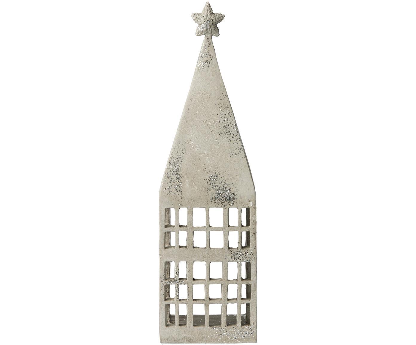 Windlicht Serafina House, Polyresin, Lichtgrijs, zilverkleurig, 10 x 33 cm