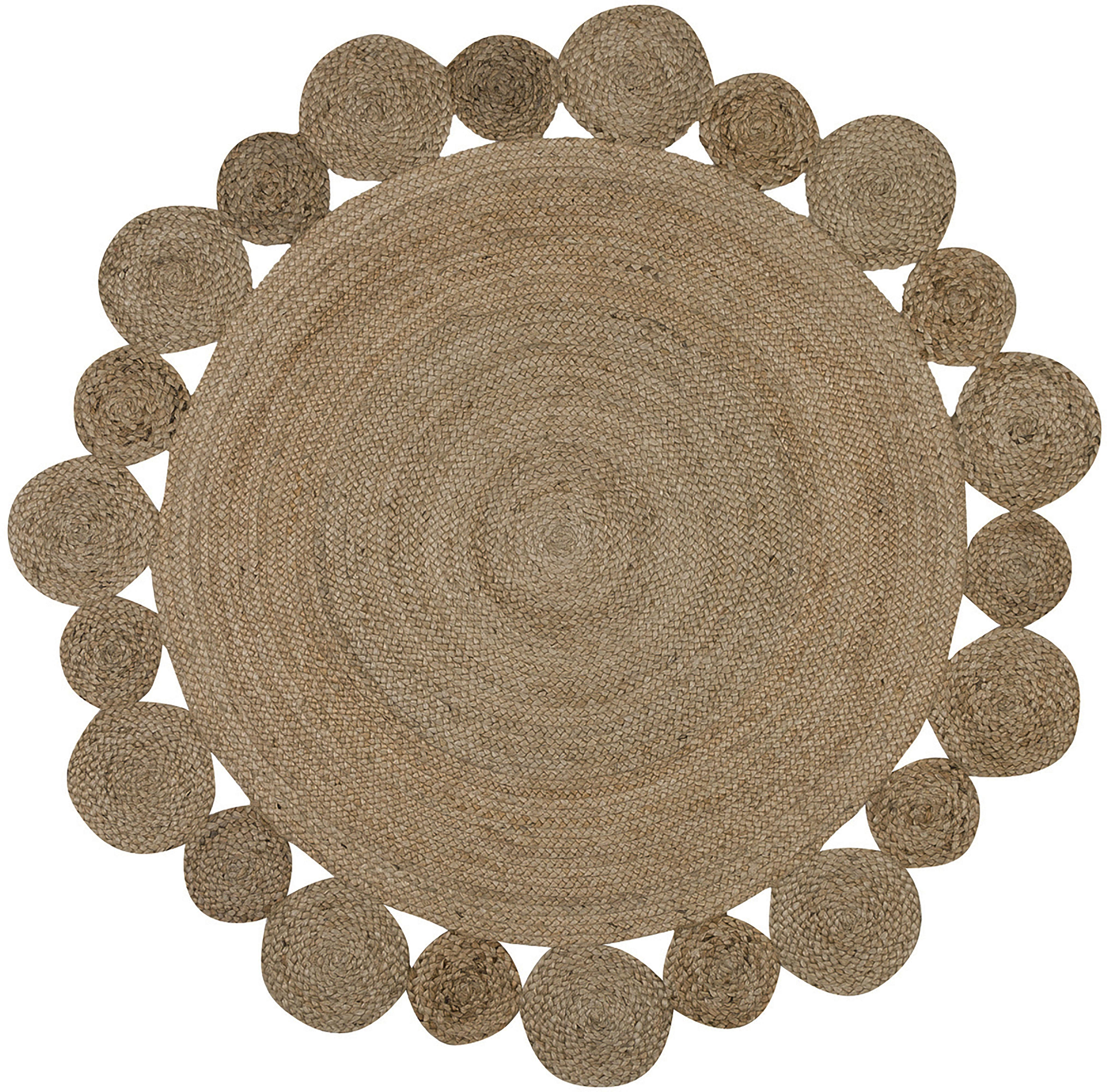 Runder Jute-Teppich Niago im Boho Style, handgefertigt, Beige, Ø 150 cm (Größe M)