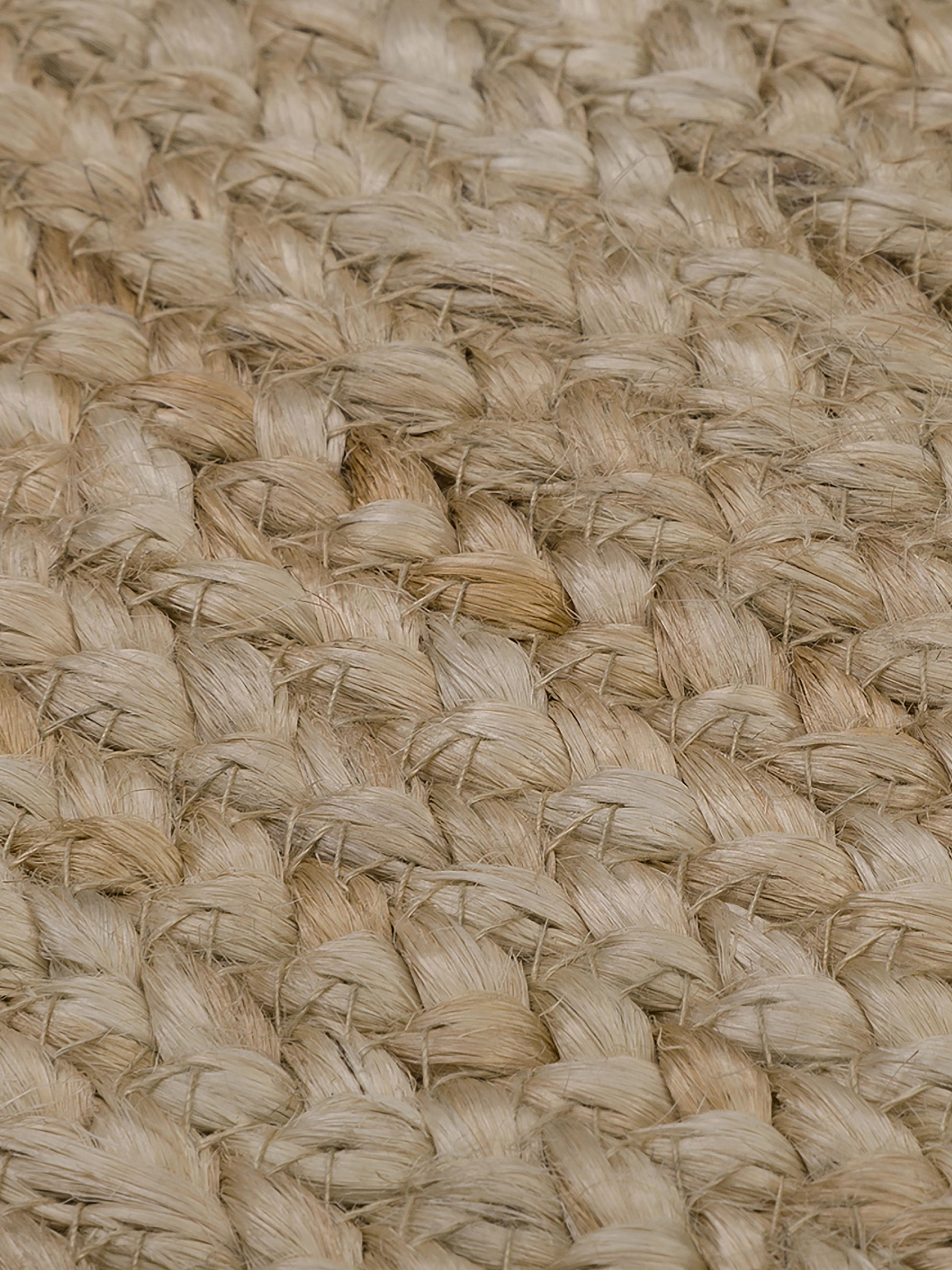 Handgemaakt juten vloerkleed Niago, Bovenzijde: jute, Onderzijde: jute, Beige, Ø 150 cm