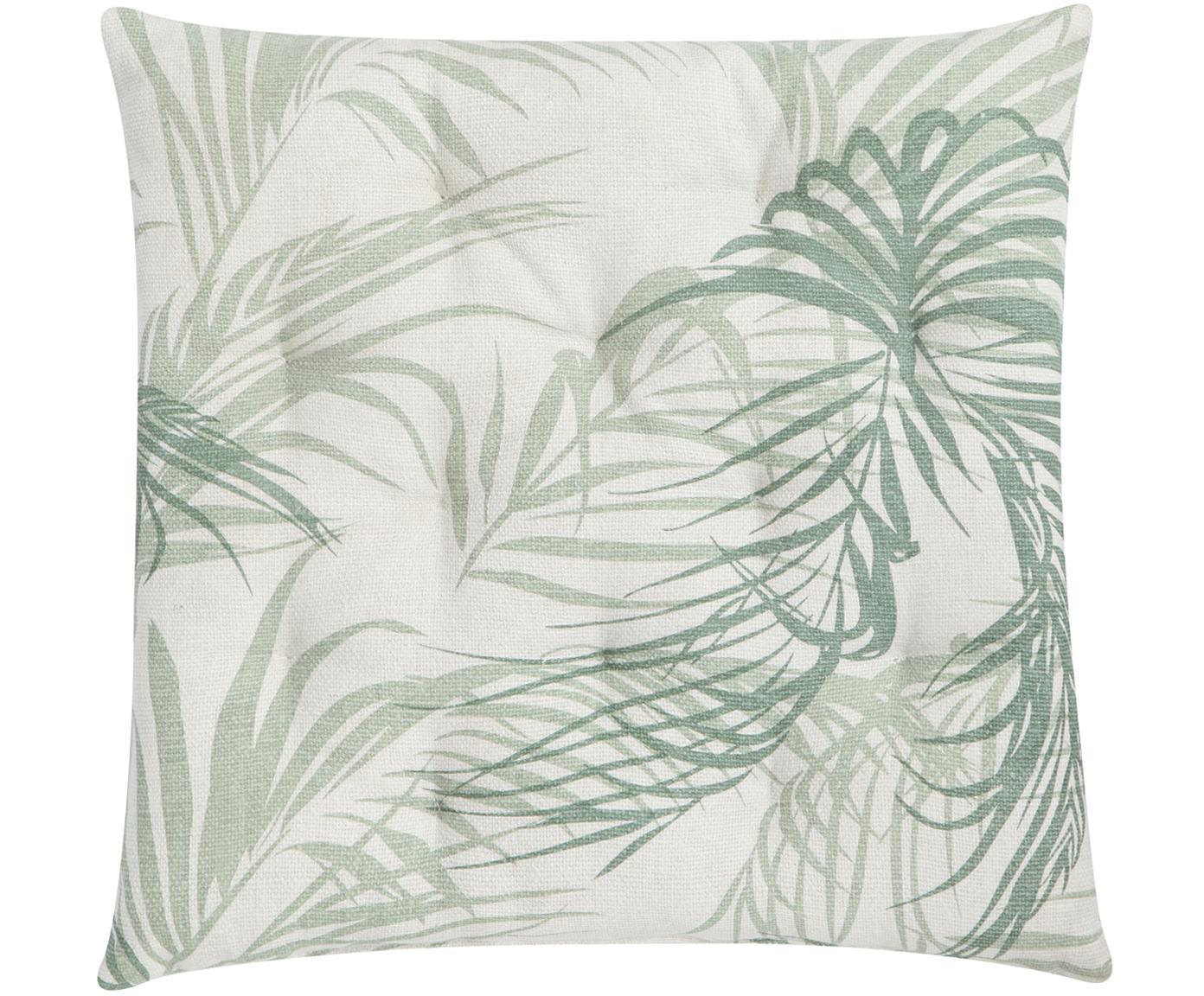 Cojín de asiento Palm Leaf, Funda: 100%algodón, Blanco crudo, verde, An 40 x L 40 cm