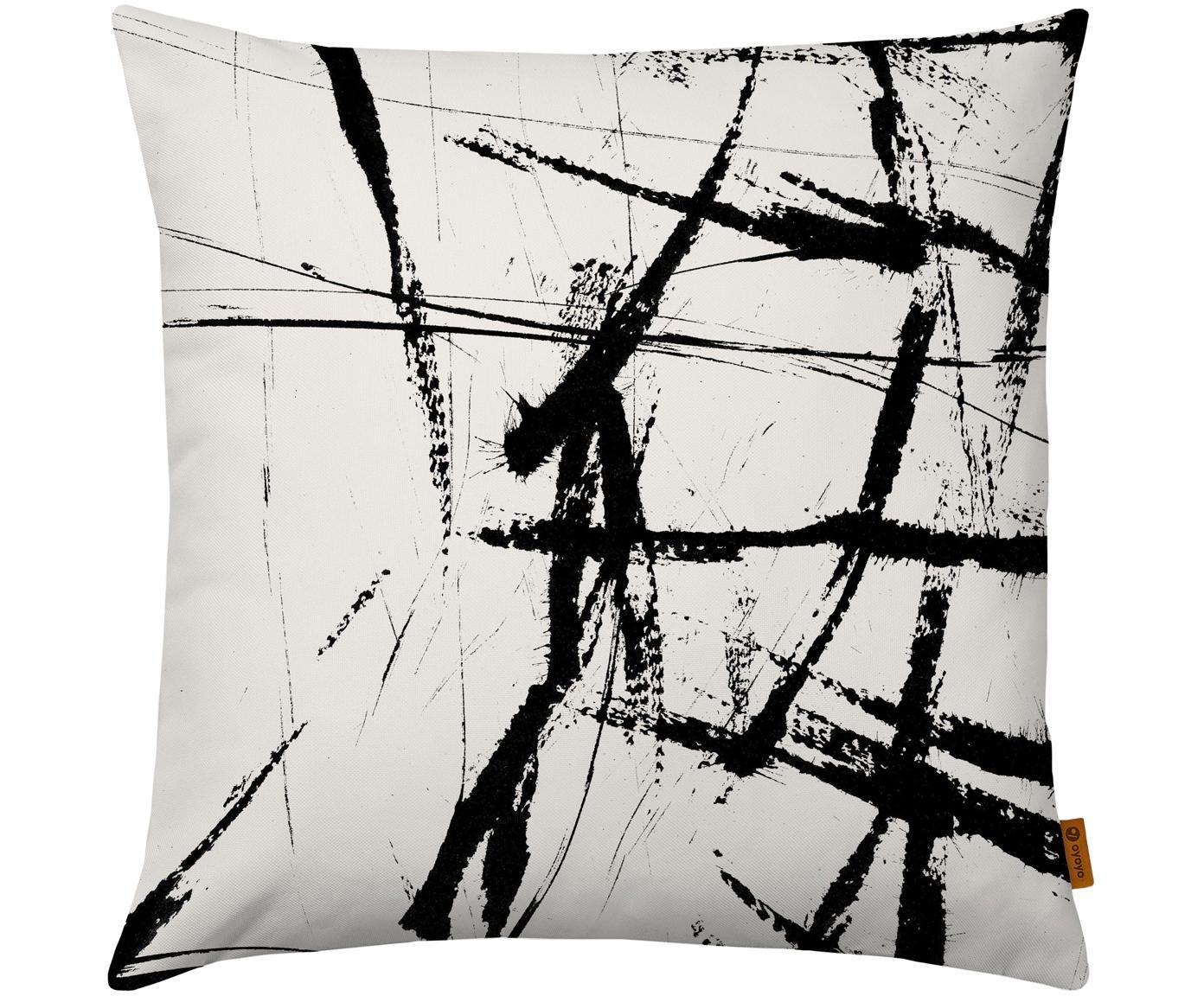 Kussenhoes Neven met abstract print in zwart/wit, Polyester, Wit met zwarte vlekken, 40 x 40 cm