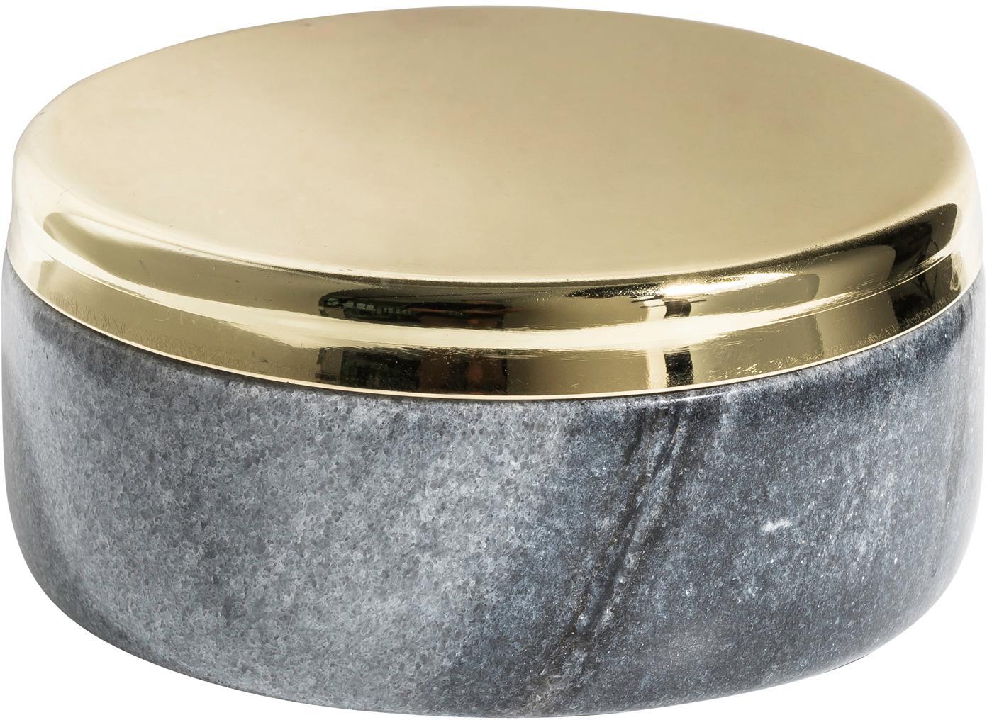 Marmeren opbergpot Sakata, Marmer, metaal, Grijs, goudkleurig, Ø 10 x H 4 cm