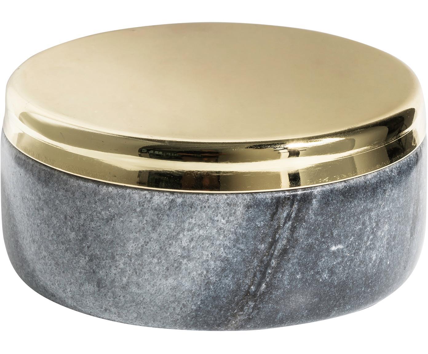 Pojemnik do przechowywania z marmuru Sakata, Marmur, metal, Szary, odcienie złotego, Ø 10 x W 4 cm