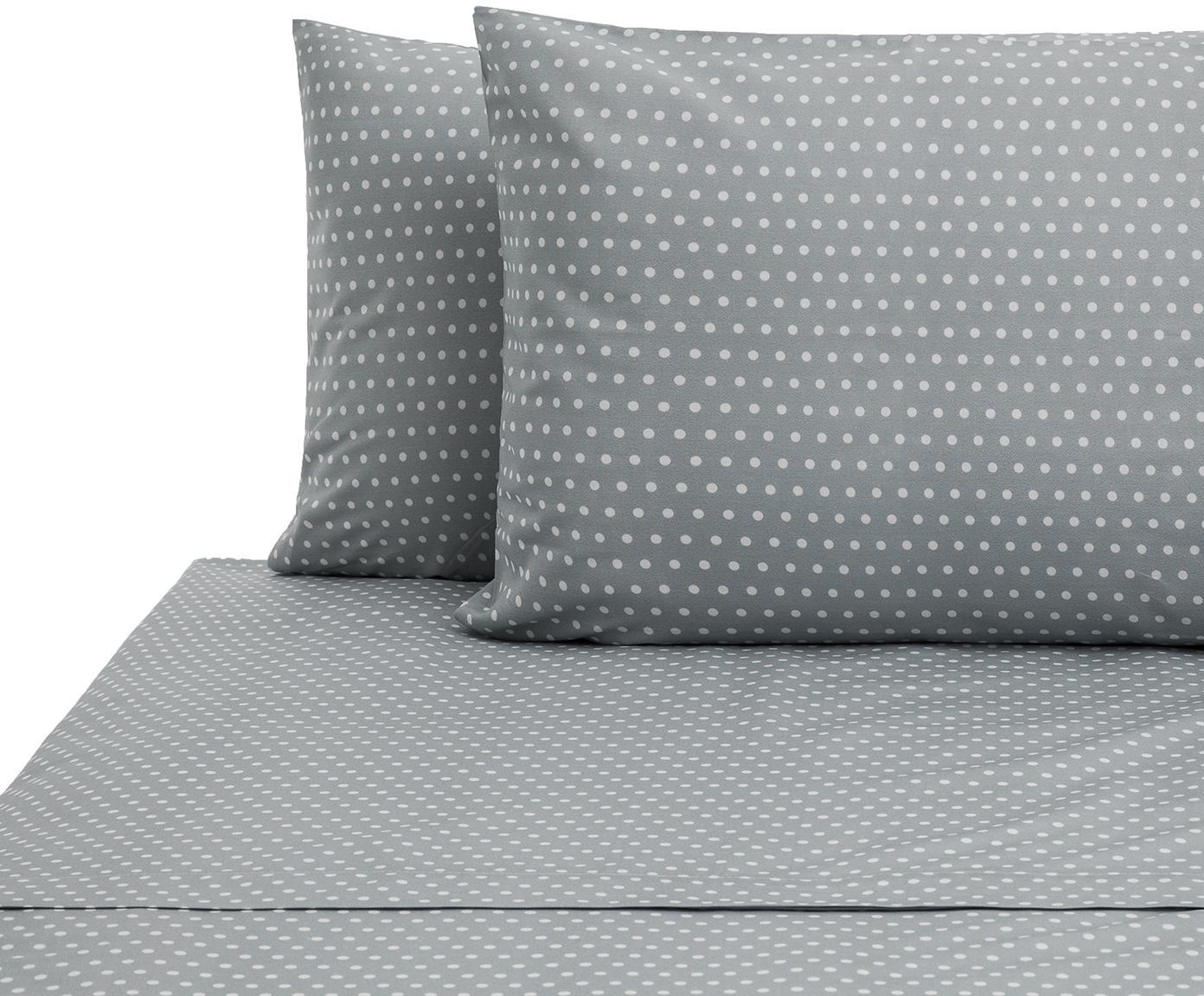 Set lenzuola in cotone Perun 2 pz, Cotone, Grigio, bianco, 240 x 270 cm