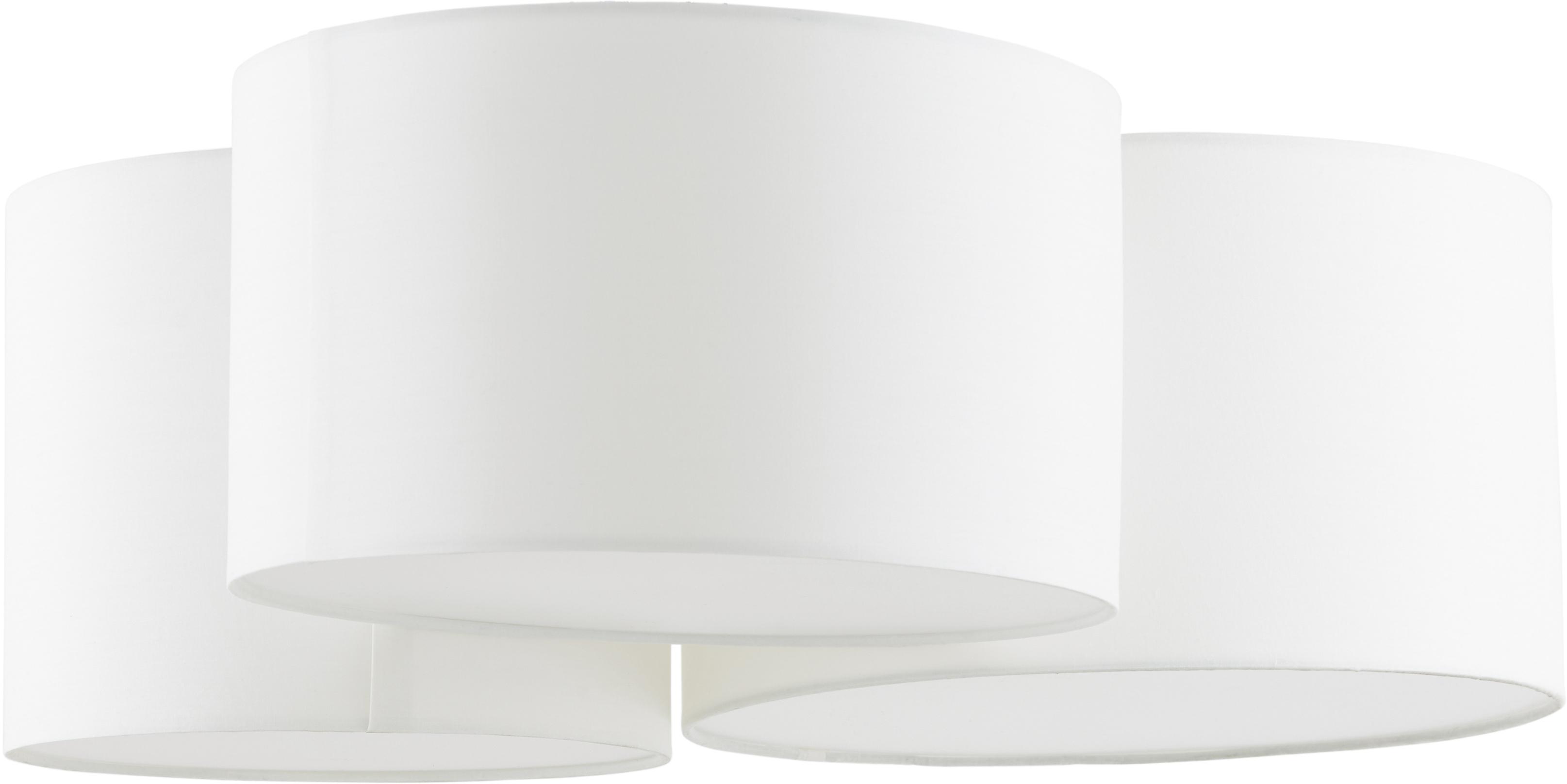 Plafoniera Luke, Baldacchino: metallo verniciato a polv, Paralume: tessuto, Bianco crema, Ø 61 x Alt. 26 cm