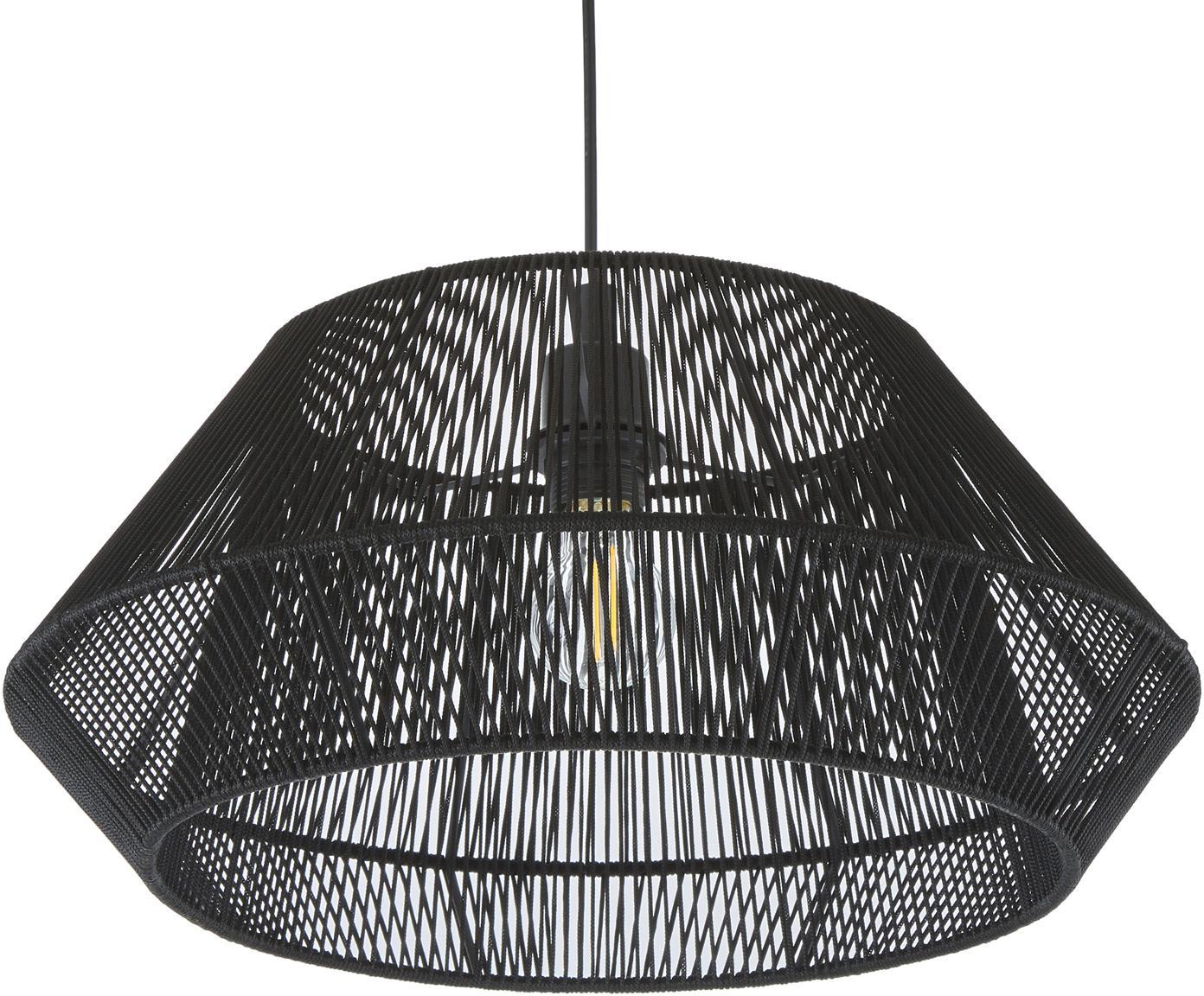 Pendelleuchte Hadi, Baldachin: Metall, pulverbeschichtet, Lampenschirm: Metall, pulverbeschichtet, Schwarz, Ø 48 x H 22 cm