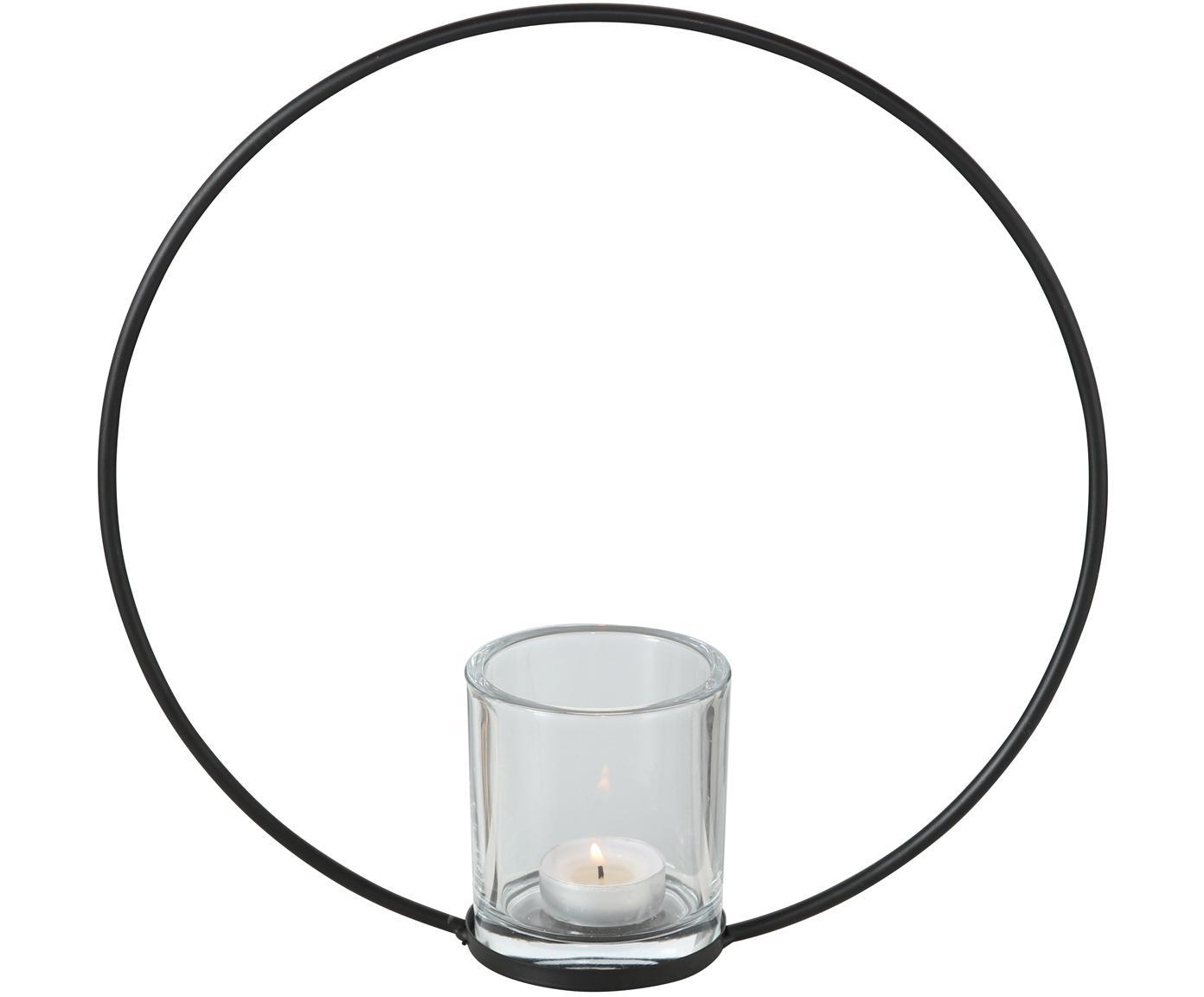 Windlicht Rumba, Metall, Glas, Schwarz, Ø 30 x T 8 cm