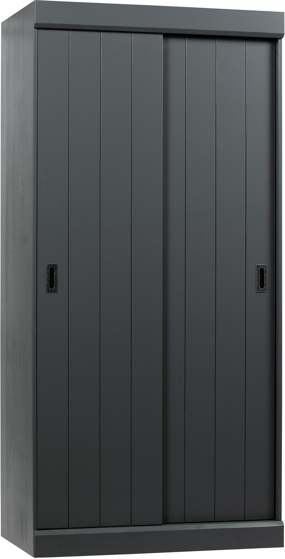 Kleiderschrank Hit mit 2 Schiebetüren in Grau, Korpus: Kiefernholz, massiv, lack, Griffe: Metall, Stahlgrau, 98 x 205 cm