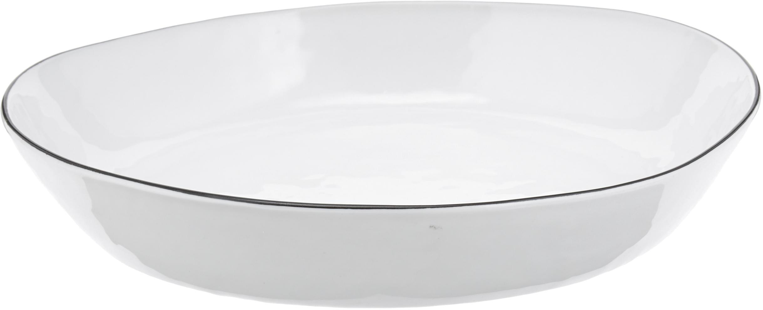 Handgemachte Servierschale Salt Ø 24 mit schwarzem Rand, Porzellan, Gebrochenes Weiss, Schwarz, 24 x 4 cm