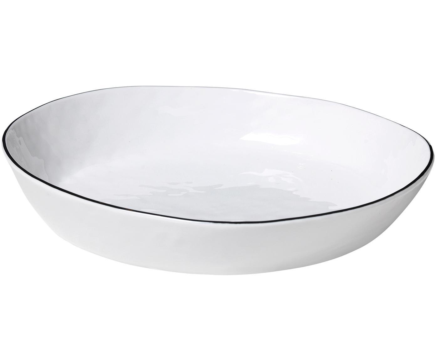 Ręcznie wykonana miska Salt, Porcelana, Złamana biel, czarny, S 24 x W 4 cm