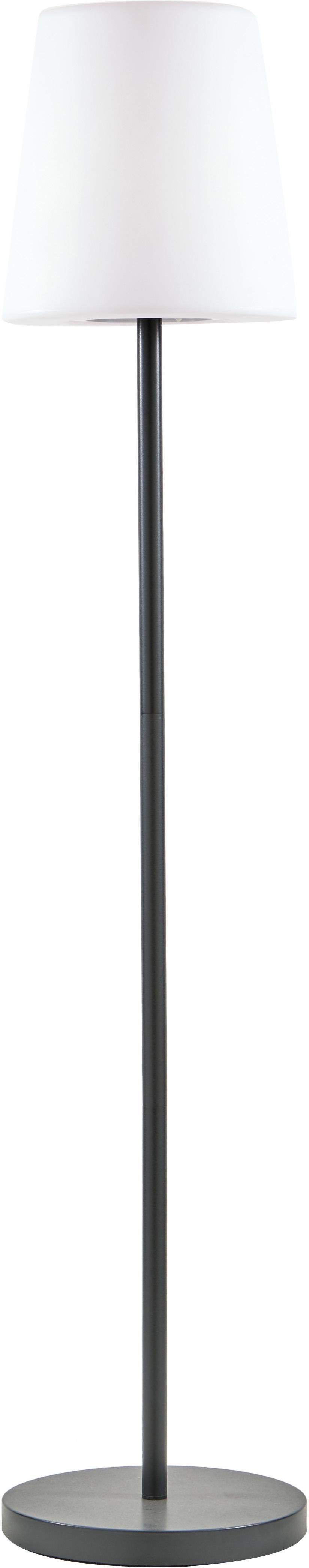 Mobile LED Außenstehleuchte Placido, Lampenfuß: Metall, beschichtet, Lampenschirm: Kunststoff, Weiß, Schwarz, Ø 31 x H 150 cm