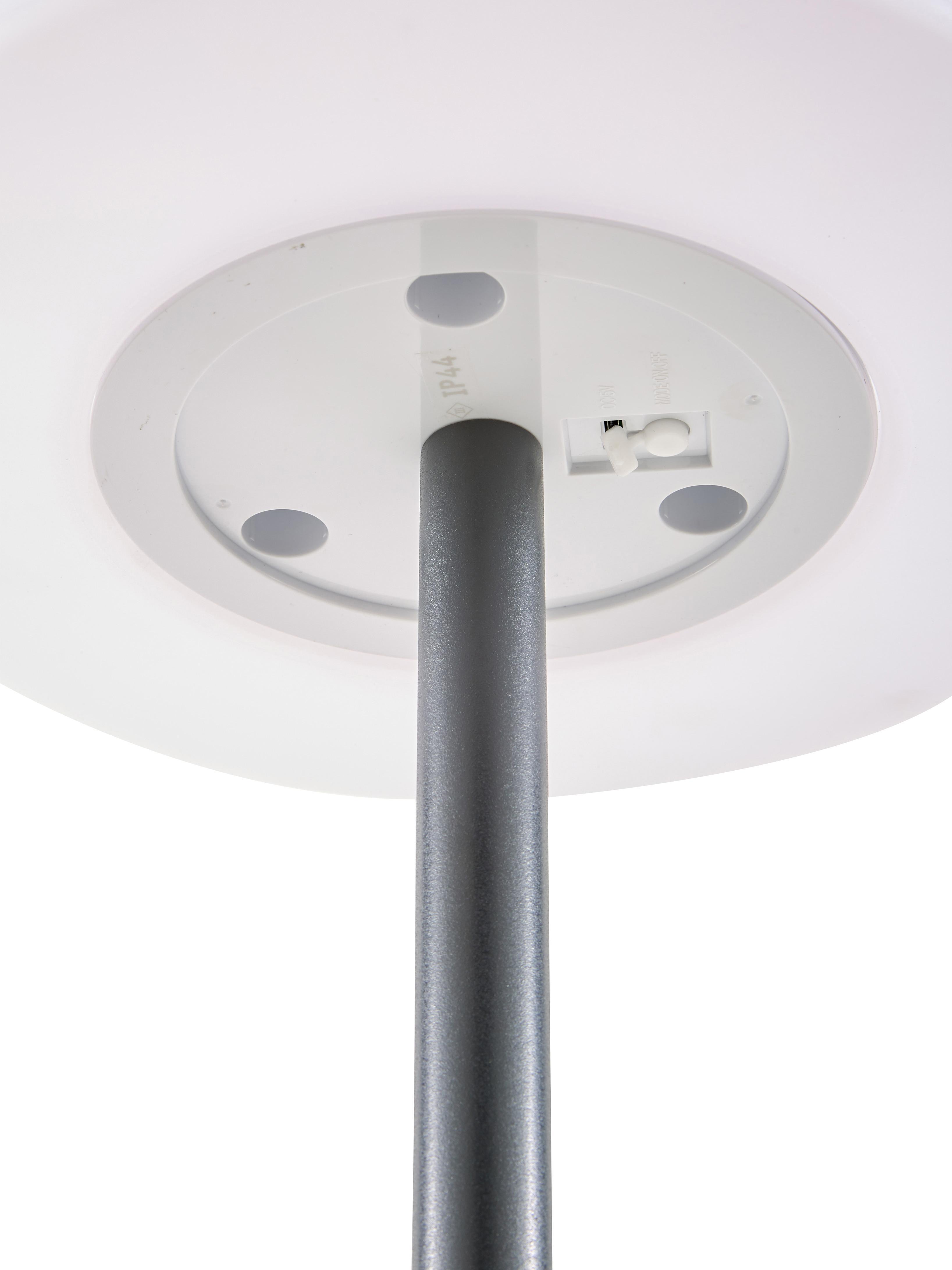 Mobiele outdoor LED vloerlamp Placido, Lampvoet: gecoat metaal, Lampenkap: kunststof, Wit, zwart, Ø 31 x H 150 cm