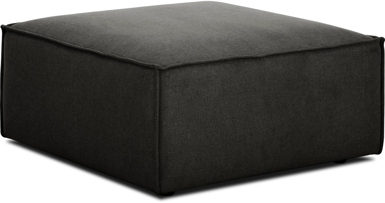 Poggiapiedi da divano antracite Lennon, Rivestimento: poliestere 35.000 cicli d, Struttura: legno di pino massiccio, , Piedini: materiale sintetico, Tessuto antracite, Larg. 88 x Alt. 43 cm