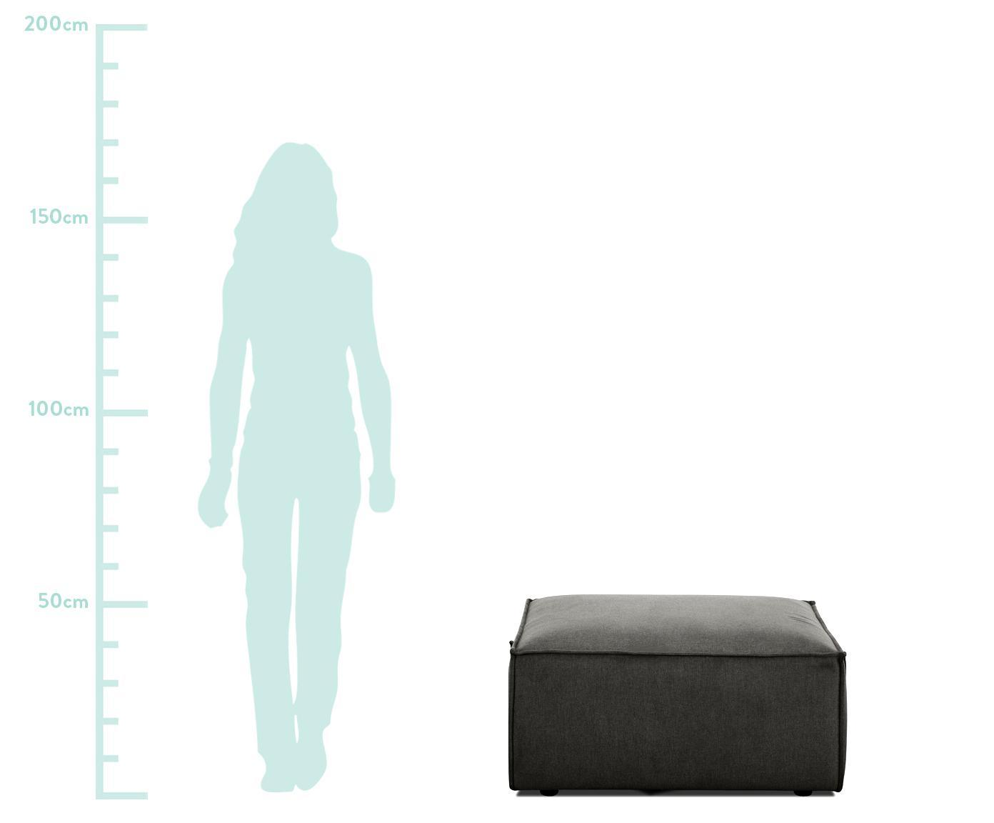 Sofa-Hocker Lennon, Bezug: Polyester Der hochwertige, Gestell: Massives Kiefernholz, Spe, Füße: Kunststoff, Webstoff Anthrazit, 88 x 43 cm