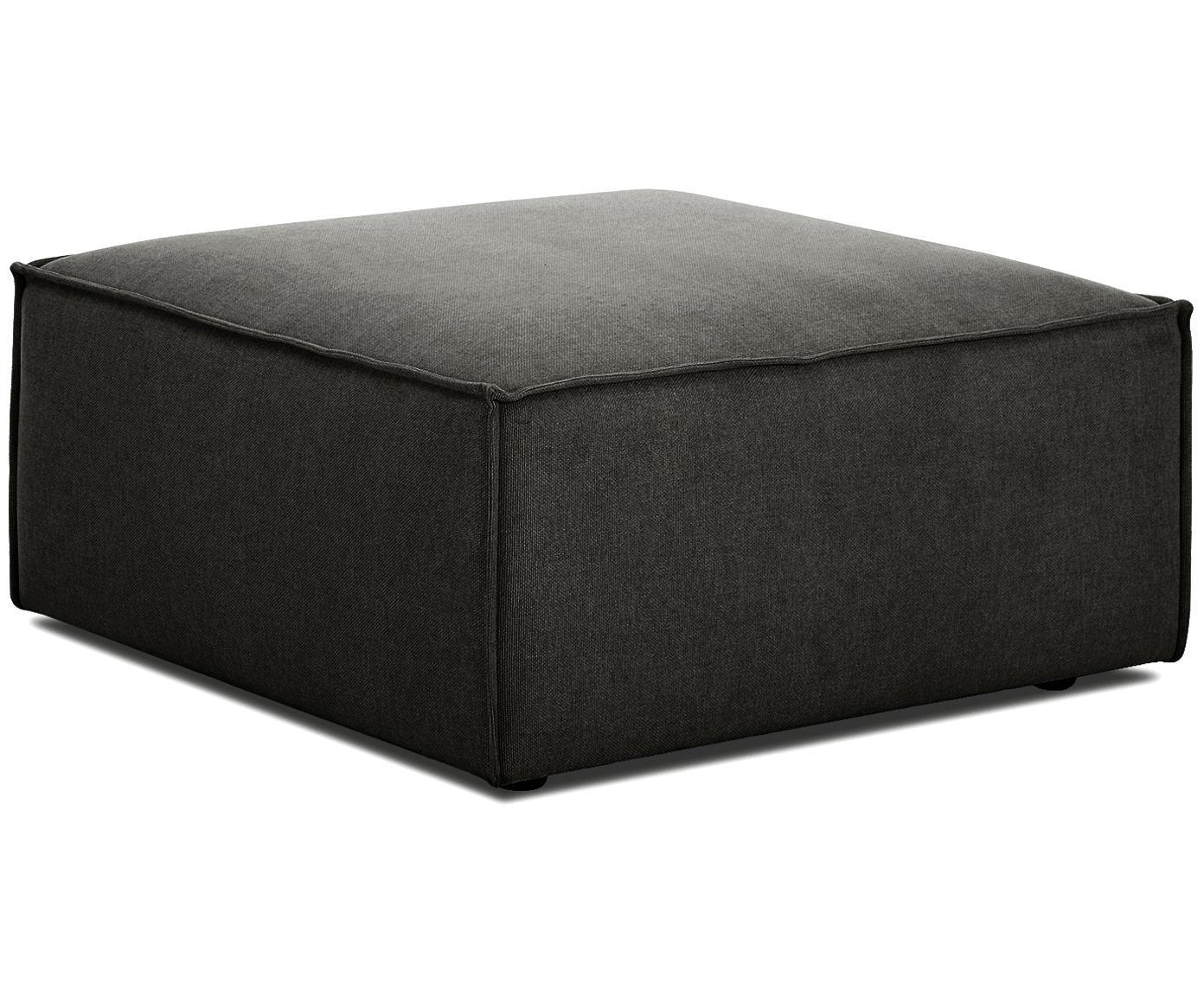 Poggiapiedi da divano Lennon, Rivestimento: poliestere 35.000 cicli d, Struttura: legno di pino massiccio, , Piedini: materiale sintetico, Tessuto antracite, Larg. 88 x Alt. 43 cm