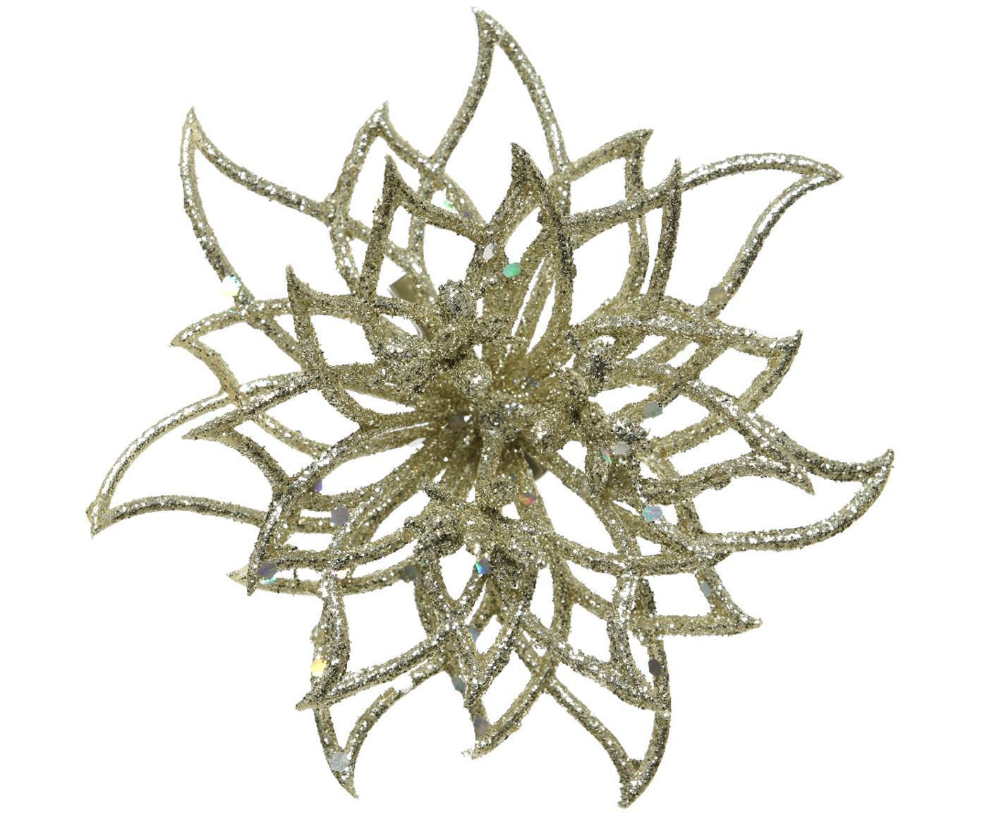 Decoratief object Buddy, Bloem: kunststof, glitter, Goudkleurig, Ø 14 x D 5 cm