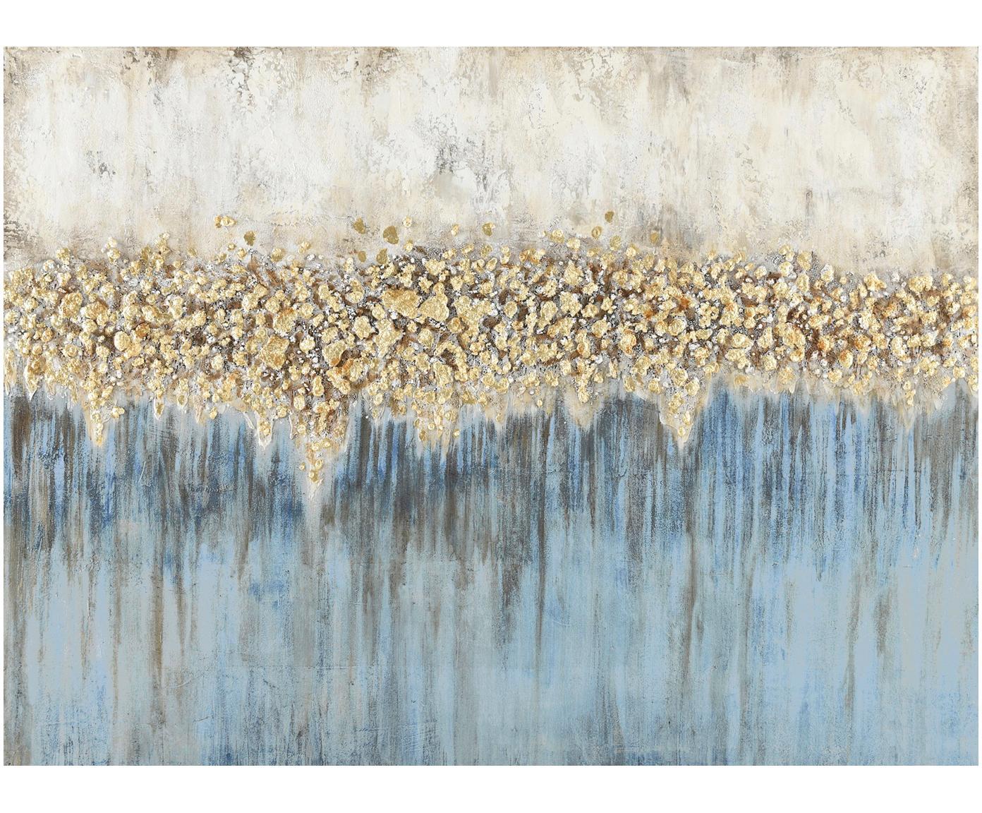 Handgemaltes Leinwandbild Danish Arts I, Bild: Ölfarben auf Leinen (300 , Weiss, Blau, Goldfarben, 120 x 90 cm