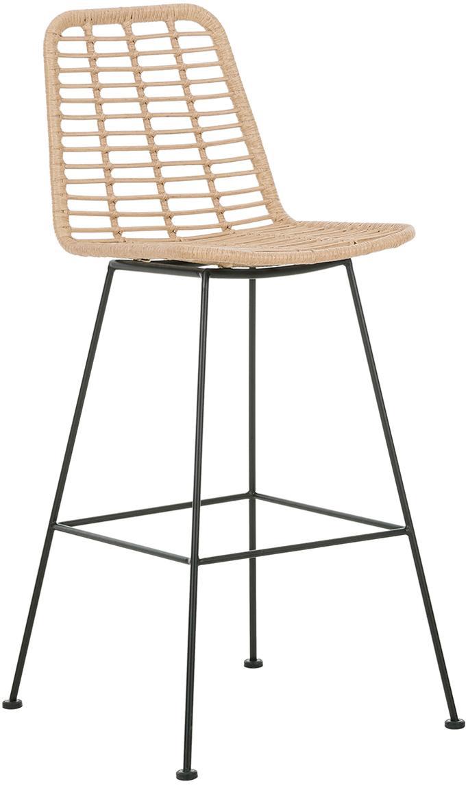 Polyrattan-Barstuhl Costa, Sitzfläche: Polyethylen-Geflecht, Gestell: Metall, pulverbeschichtet, Hellbraun, 56 x 98 cm