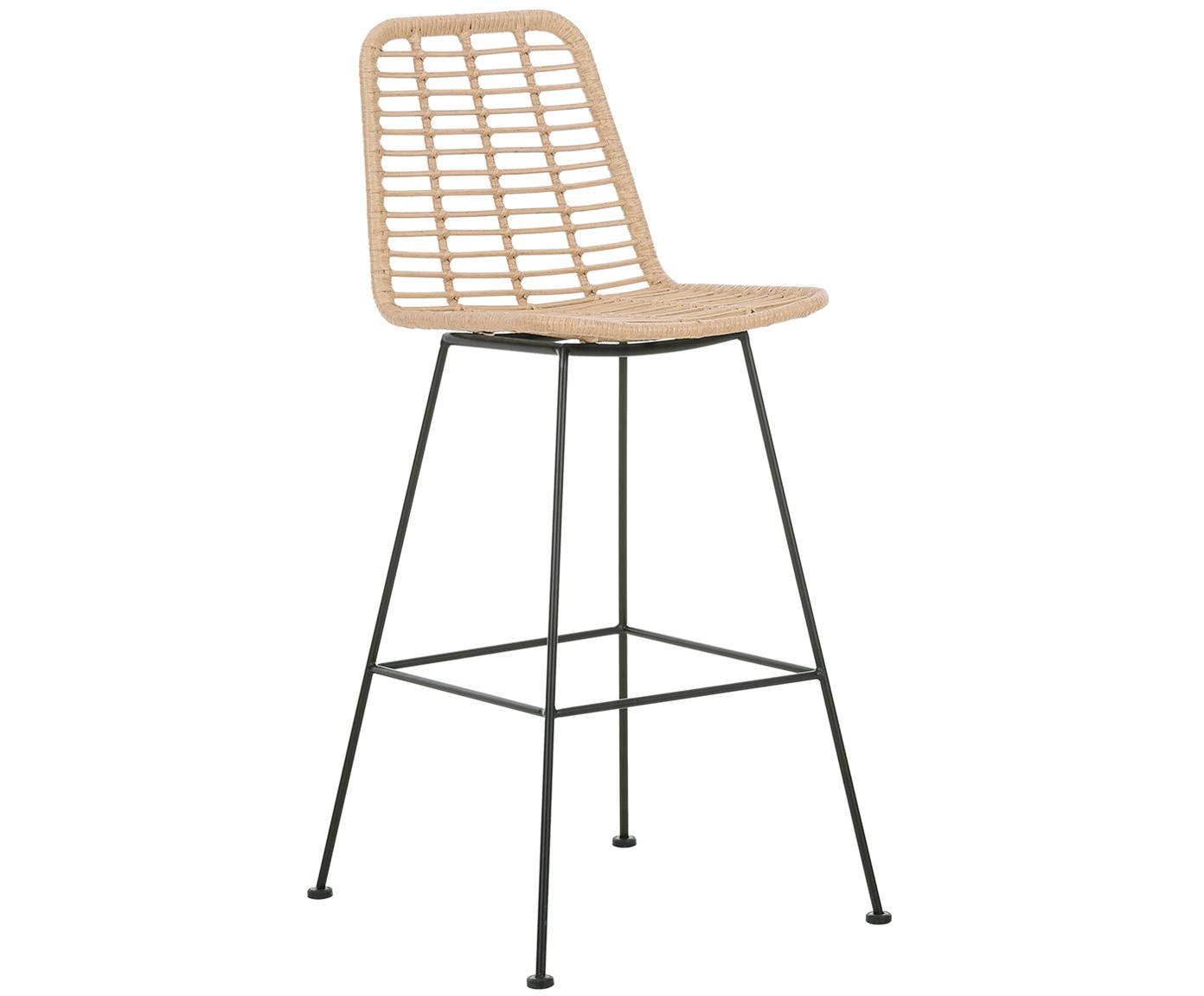 Krzesło barowe z polirattanu Sola, Stelaż: metal malowany proszkowo, Jasny brązowy, S 56 x W 98 cm
