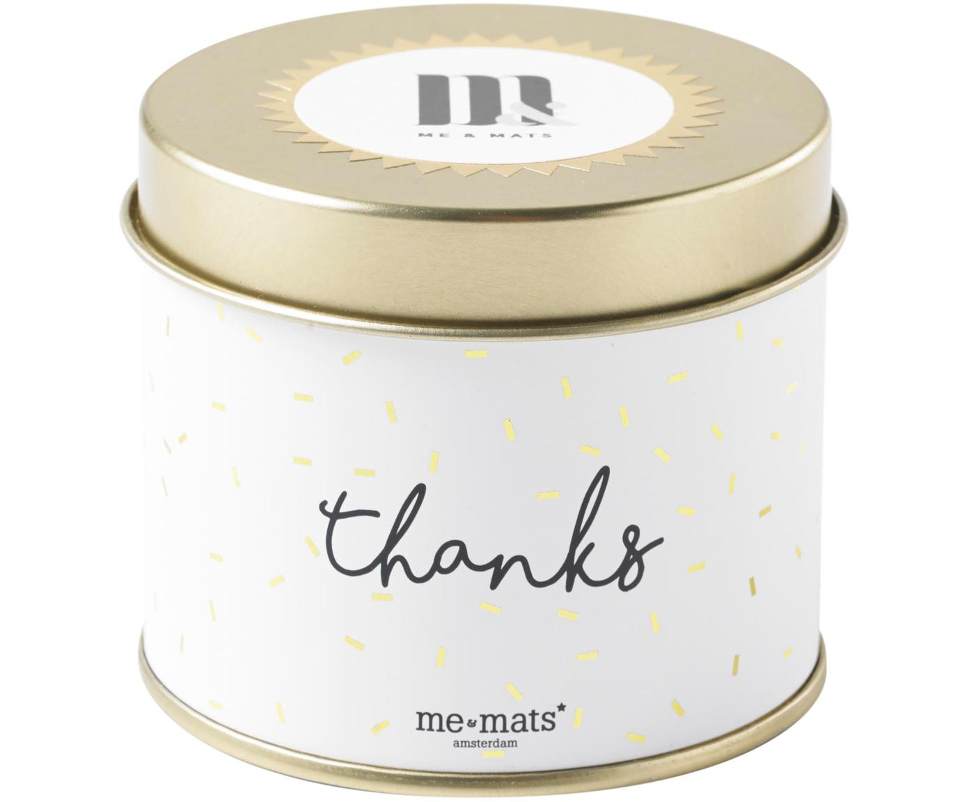 Duftkerze Thanks (Grapefruit, Patschuli & Wassermelone), Behälter: Metall, beschichtet, Goldfarben, Weiß, Schwarz, Ø 8 x H 7 cm