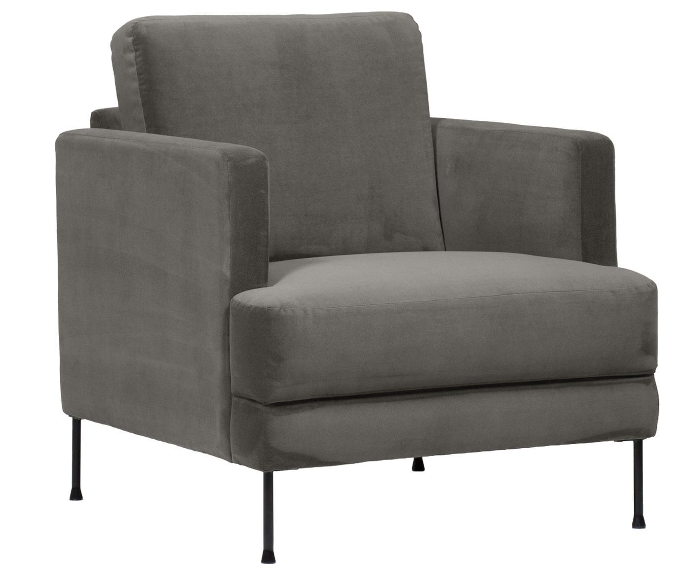 Fotel z aksamitu Fluente, Tapicerka: aksamit (wysokiej jakości, Stelaż: lite drewno sosnowe, Nogi: metal lakierowany, Szarobrązowy aksamit, S 76 x G 83 cm