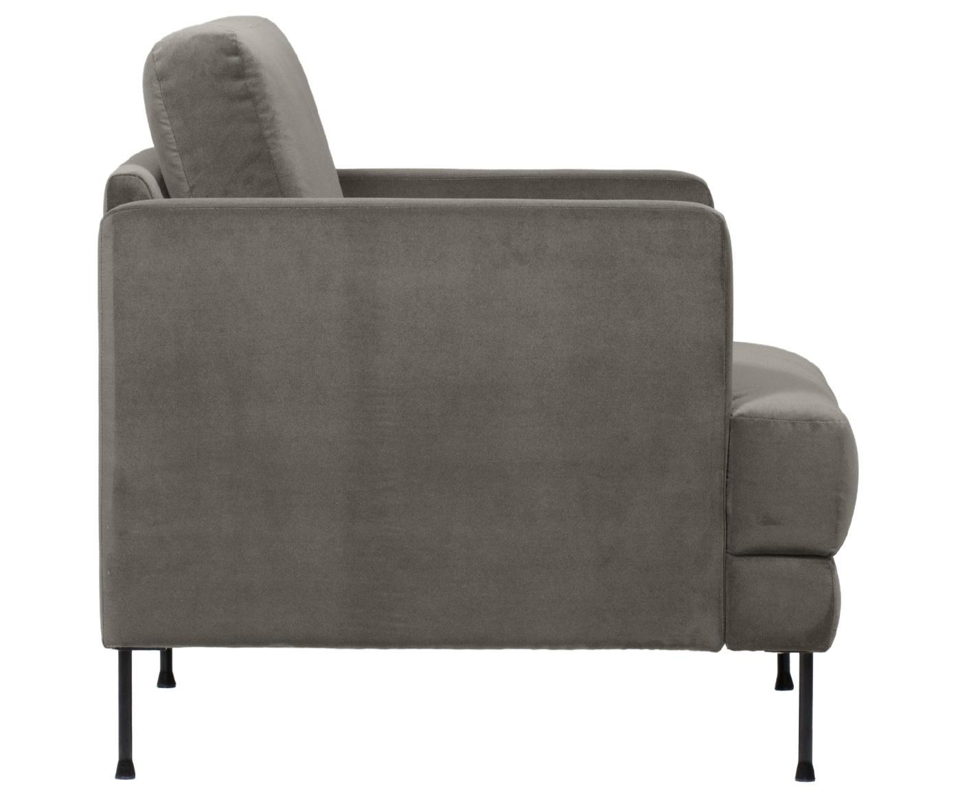 Fluwelen fauteuil Fluente, Bekleding: fluweel (hoogwaardig poly, Frame: massief grenenhout, Poten: gelakt metaal, Bruingrijs, B 76 x D 83 cm