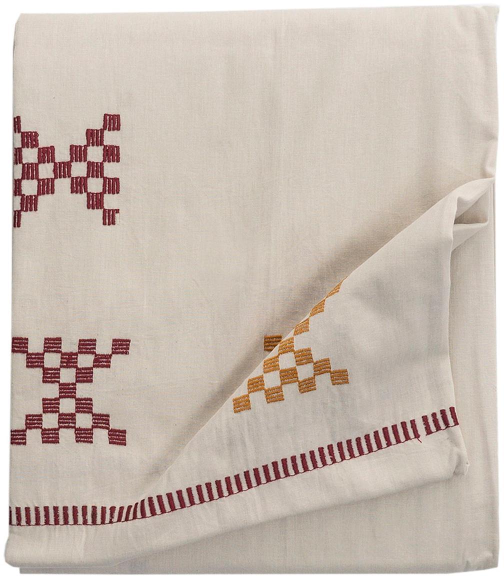 Bestickte Tischdecke Kelti mit Ethno Muster, Baumwolle, Gebrochenes Weiß, Rot, Gelb, Für 6 - 8 Personen (B 160 x L 250 cm)
