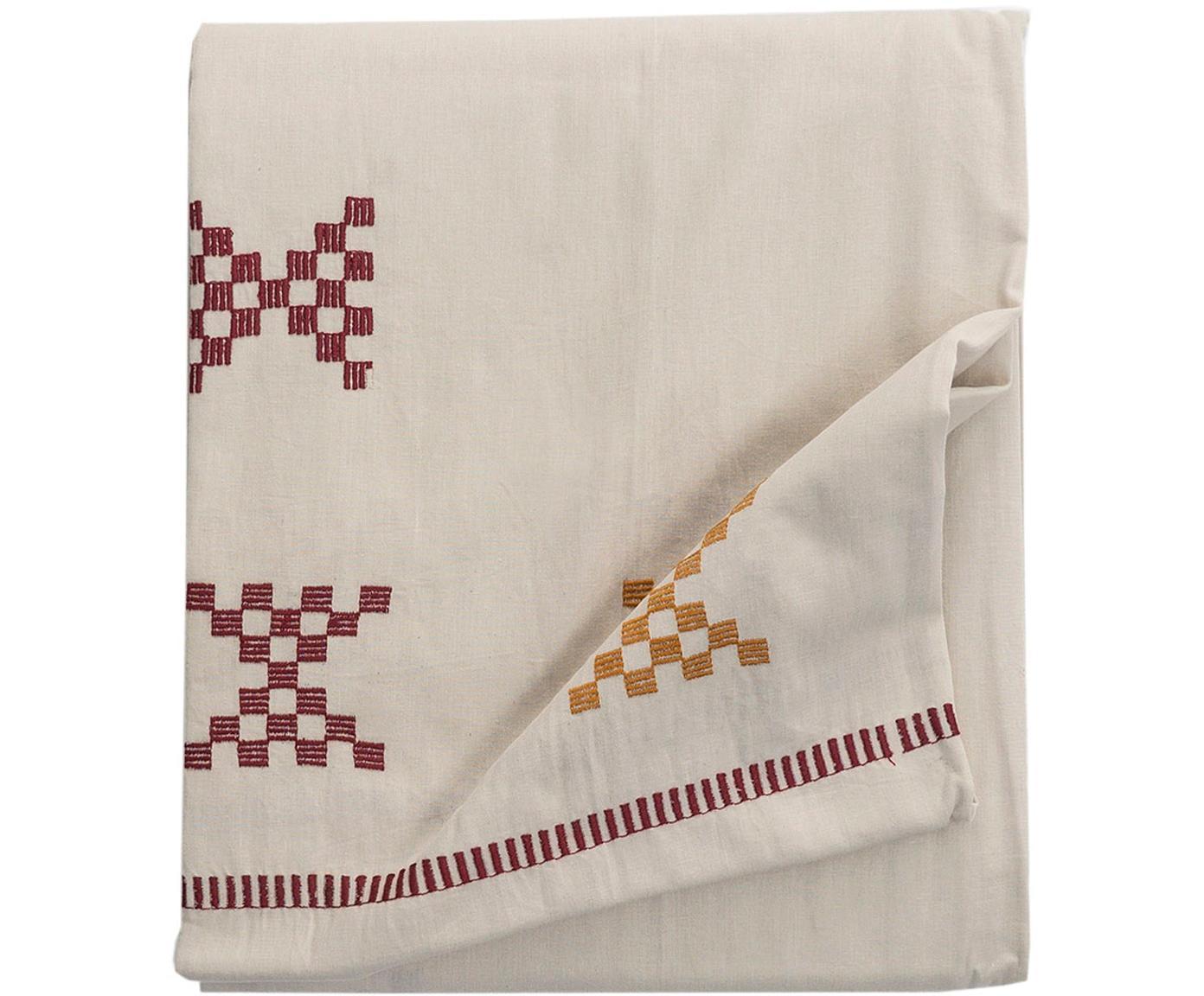 Tafelkleed Kelti, Katoen, Gebroken wit, rood, geel, Voor 6 - 8 personen (B 160 x L 250 cm)