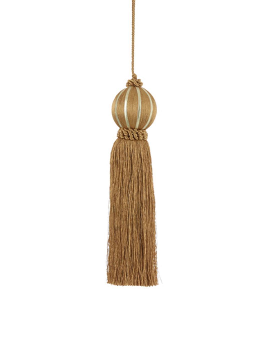 Decoratieve hangers Asena, 2 stuks, Polyester, Mosterdgeel, Ø 6 x H 27 cm