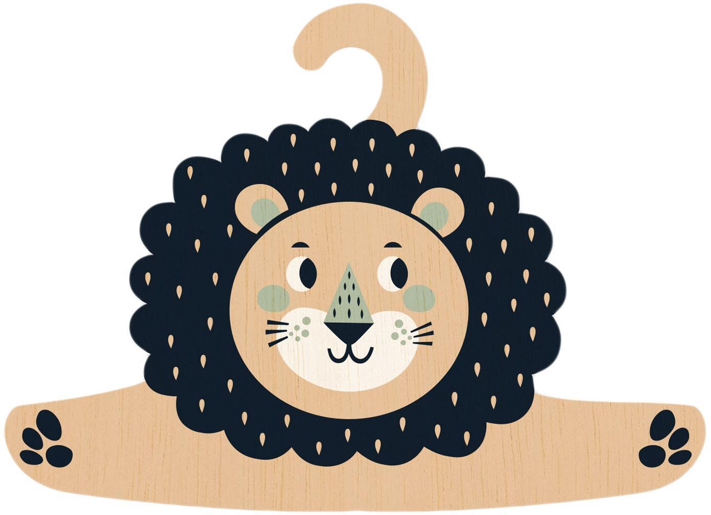 Percha Lion, Madera contrachapada, recubierta, Negro, beige, verde menta, crema, An 30 x Al 30 cm