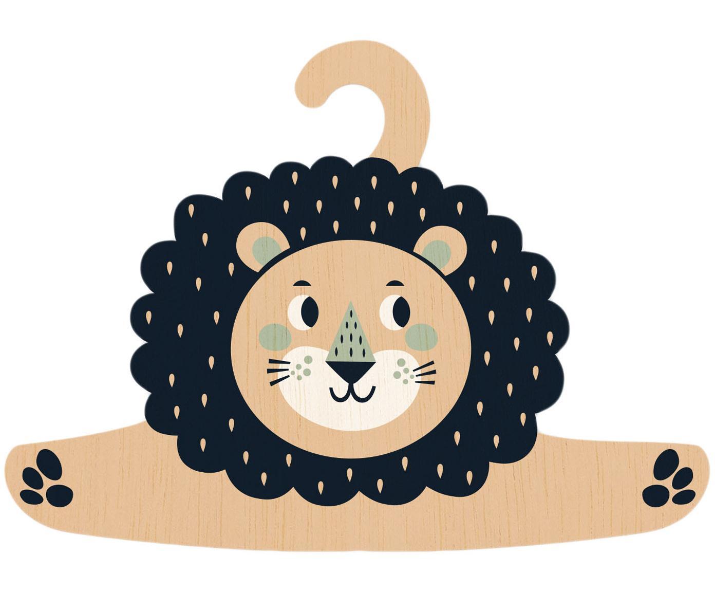 Kleerhanger Lion, Gecoat multiplex, Zwart, beige, mintgroen, crèmekleurig, 30 x 30 cm