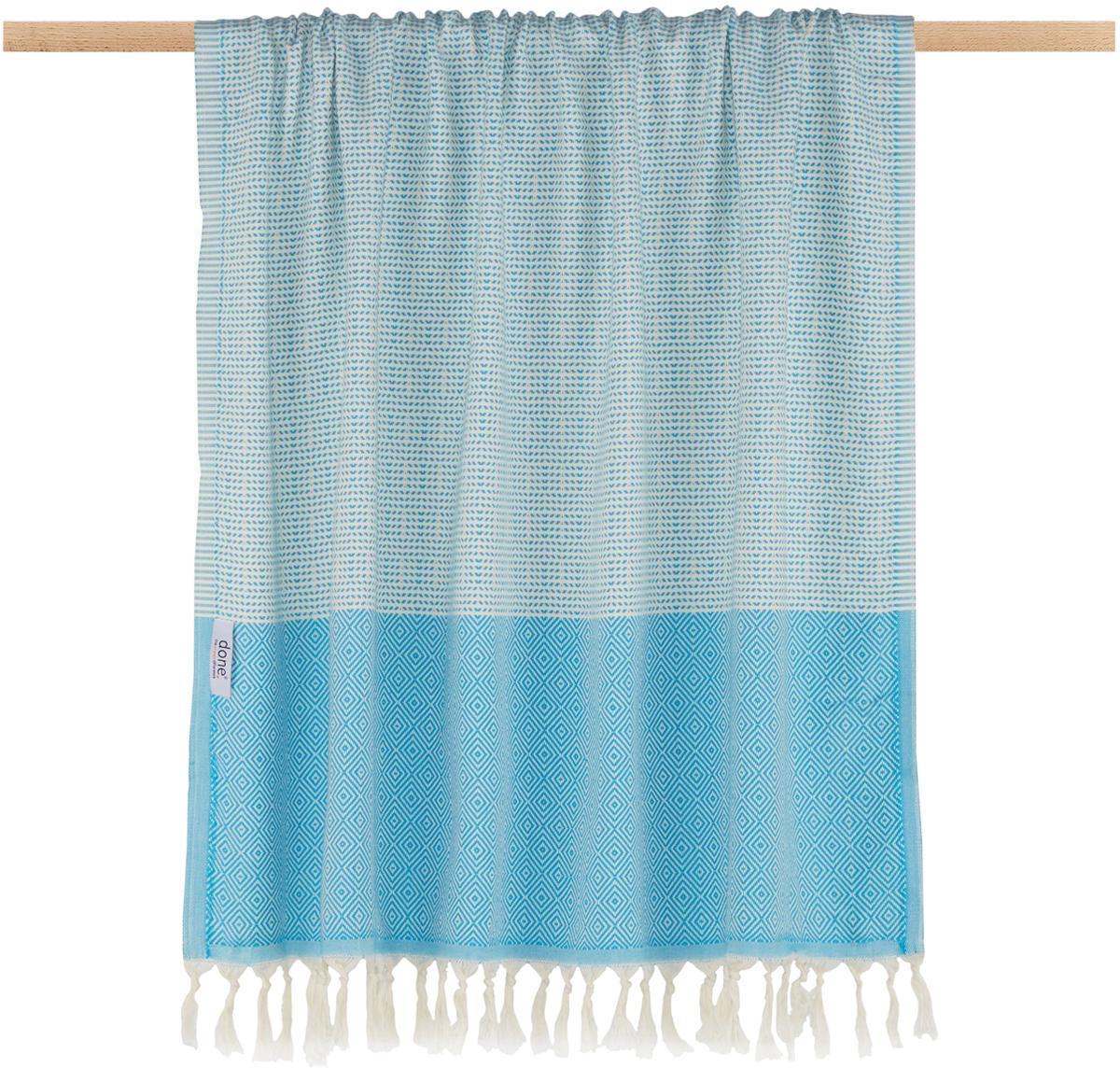 Manta Lounge Diamond, 100%algodón, Azul, blanco crudo, An 100 x L 180 cm