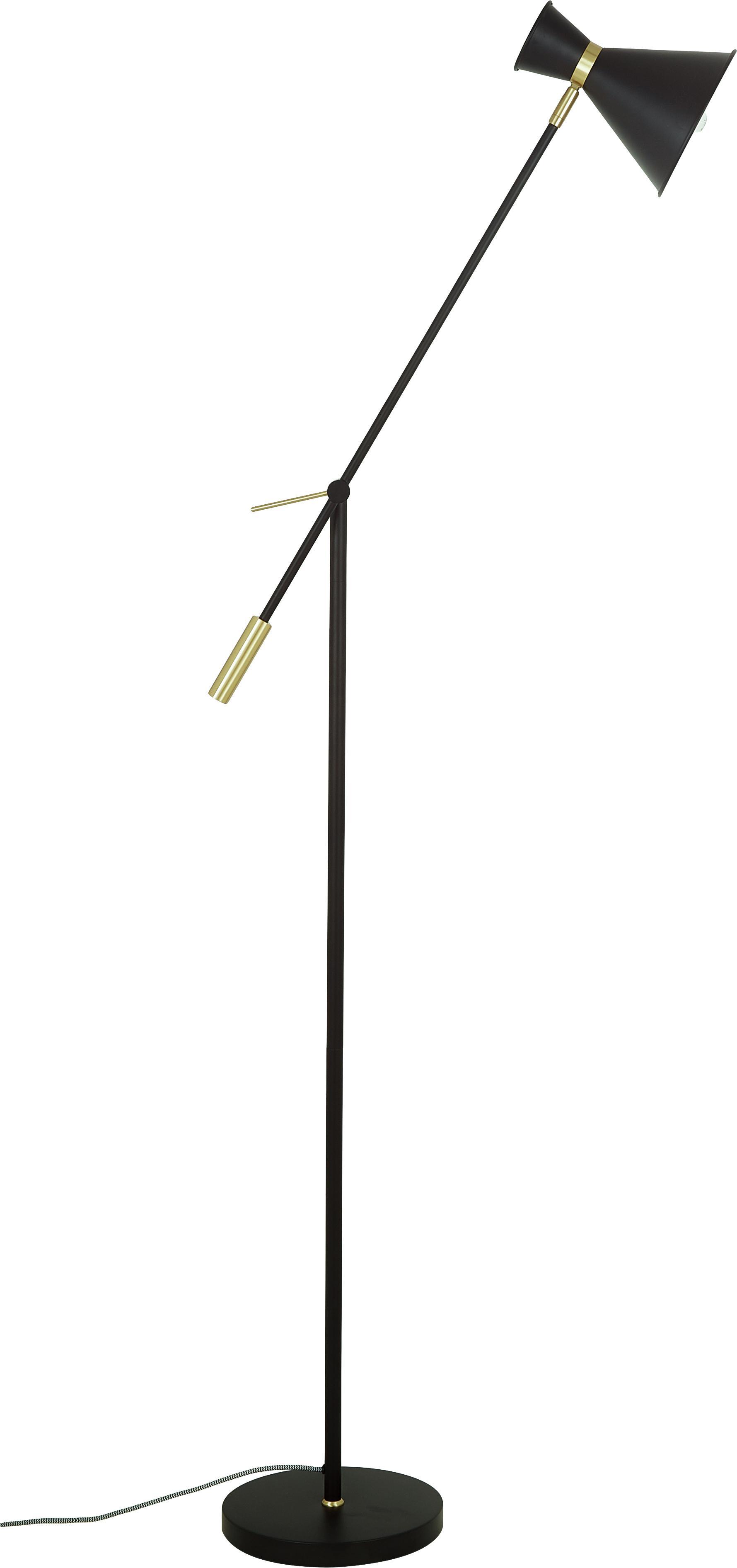 Lámpara de pie de metal Audrey, estilo retro, Pantalla: metal con pintura en polv, Cable: cubierto en tela, Negro mate, Ø 18 x Al 145 cm