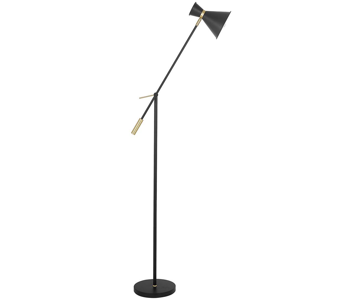 Lámpara de pie Audrey, estilo escandinavo, Pantalla: metal con pintura en polv, Cable: cubierto en tela, Negro mate, Ø 18 x Al 145 cm