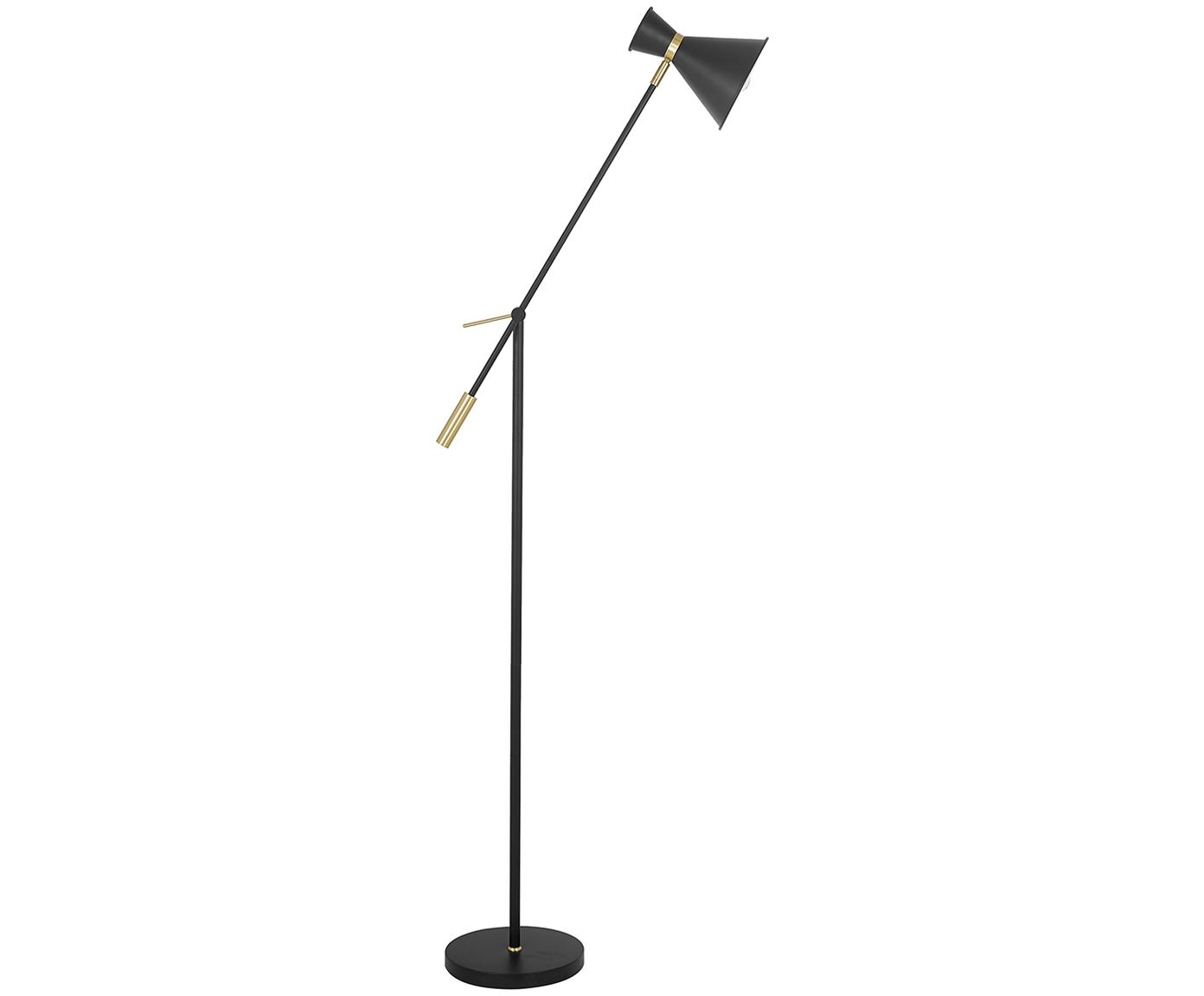 Skandi-Stehlampe Audrey, Lampenschirm: Metall, pulverbeschichtet, Mattschwarz, ∅ 18 x H 145 cm