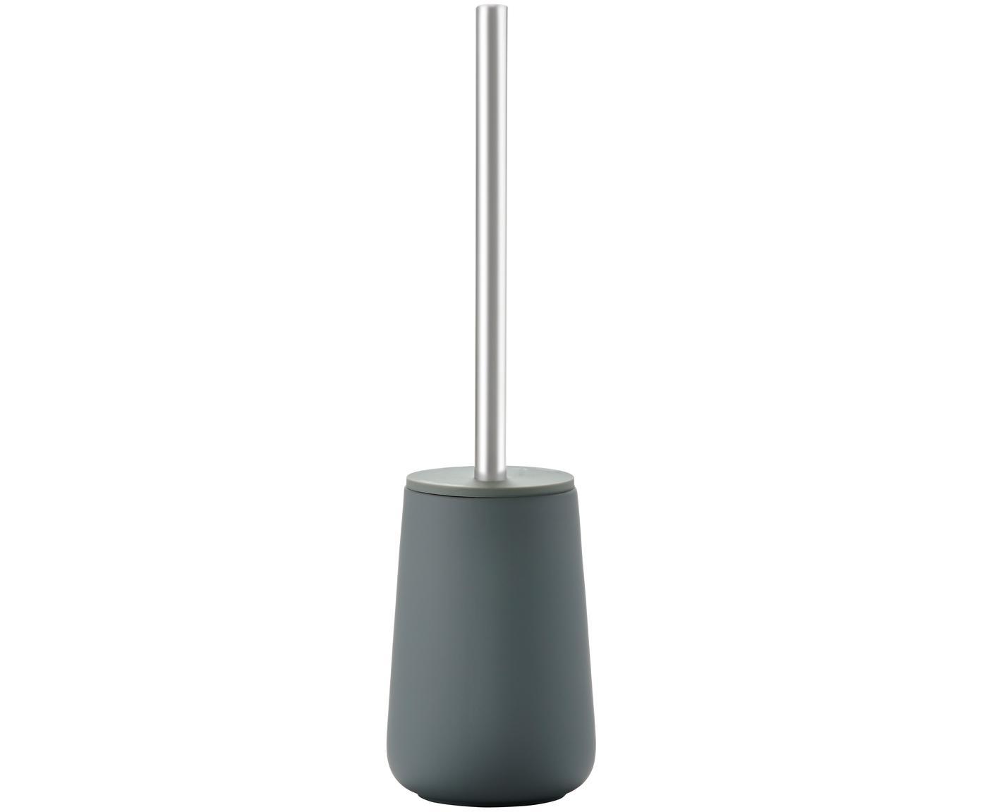 Toilettenbürste Nova mit Porzellan-Behälter, Behälter: Porzellan, Griff: Edelstahl, Grau matt, Edelstahl, Ø 10 x H 43 cm
