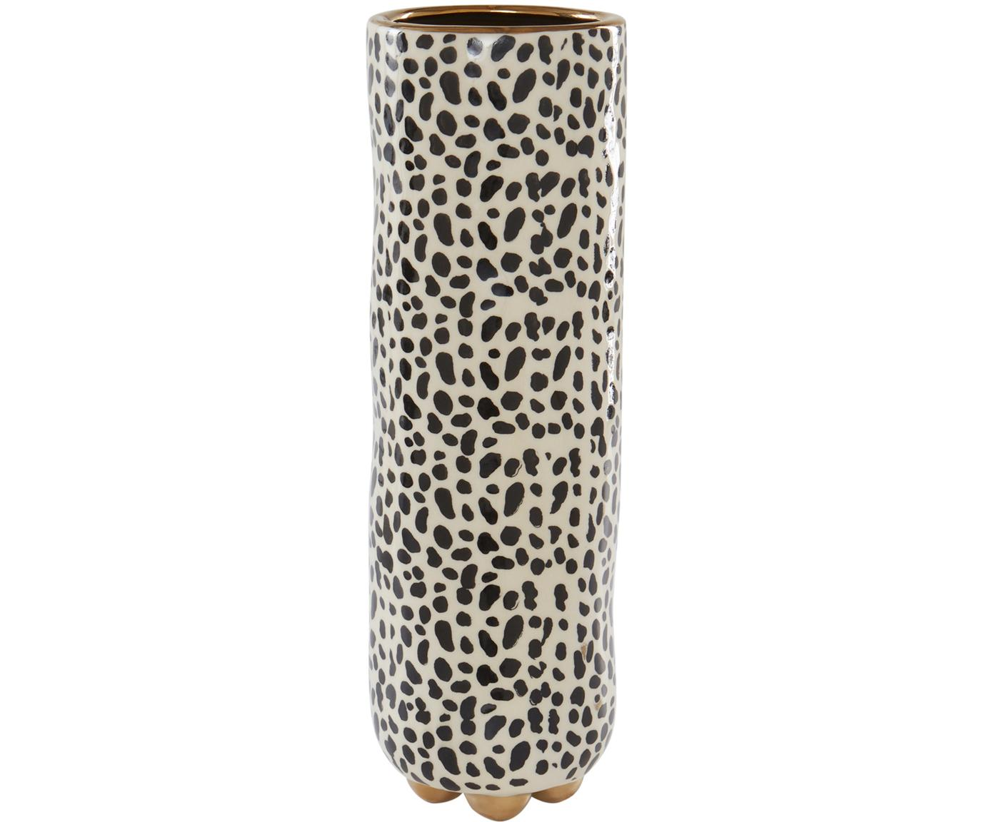 Grote handbeschilderde vaas Fifi van keramiek, Geglazuurd keramiek, Beige, zwart, goudkleurig, Ø 12 x H 34 cm