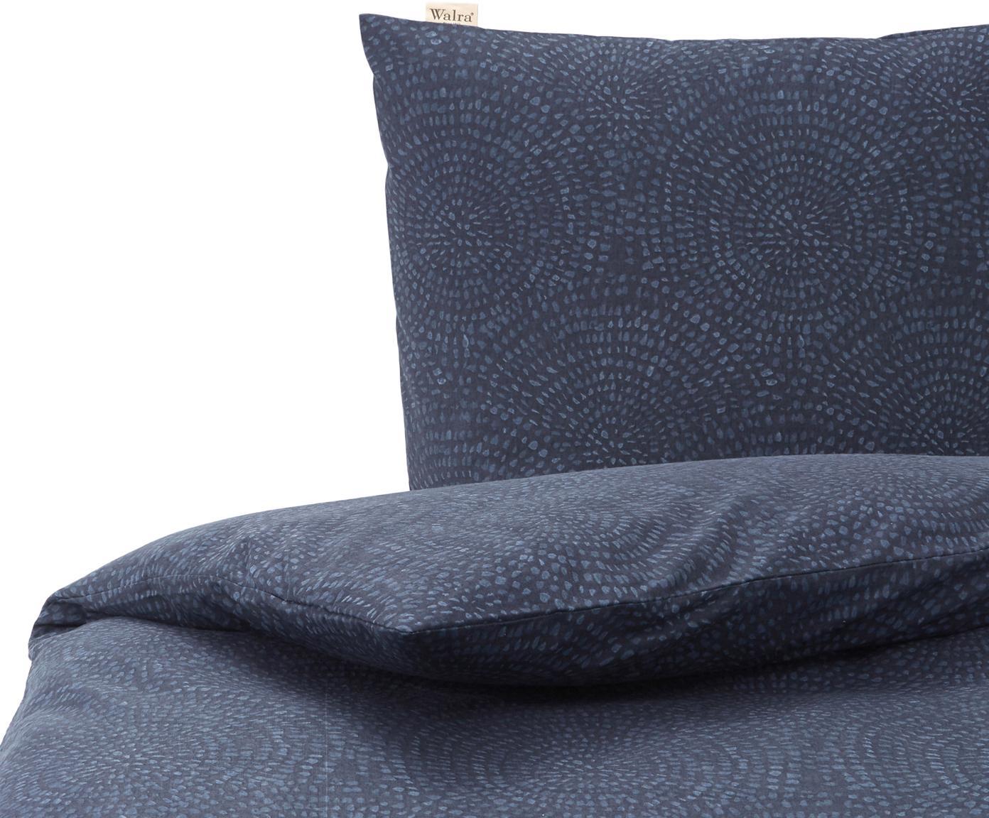 Flanellen dekbedovertrek Winter Curves, Weeftechniek: flanel, Donkerblauw, blauw, 140 x 220 cm