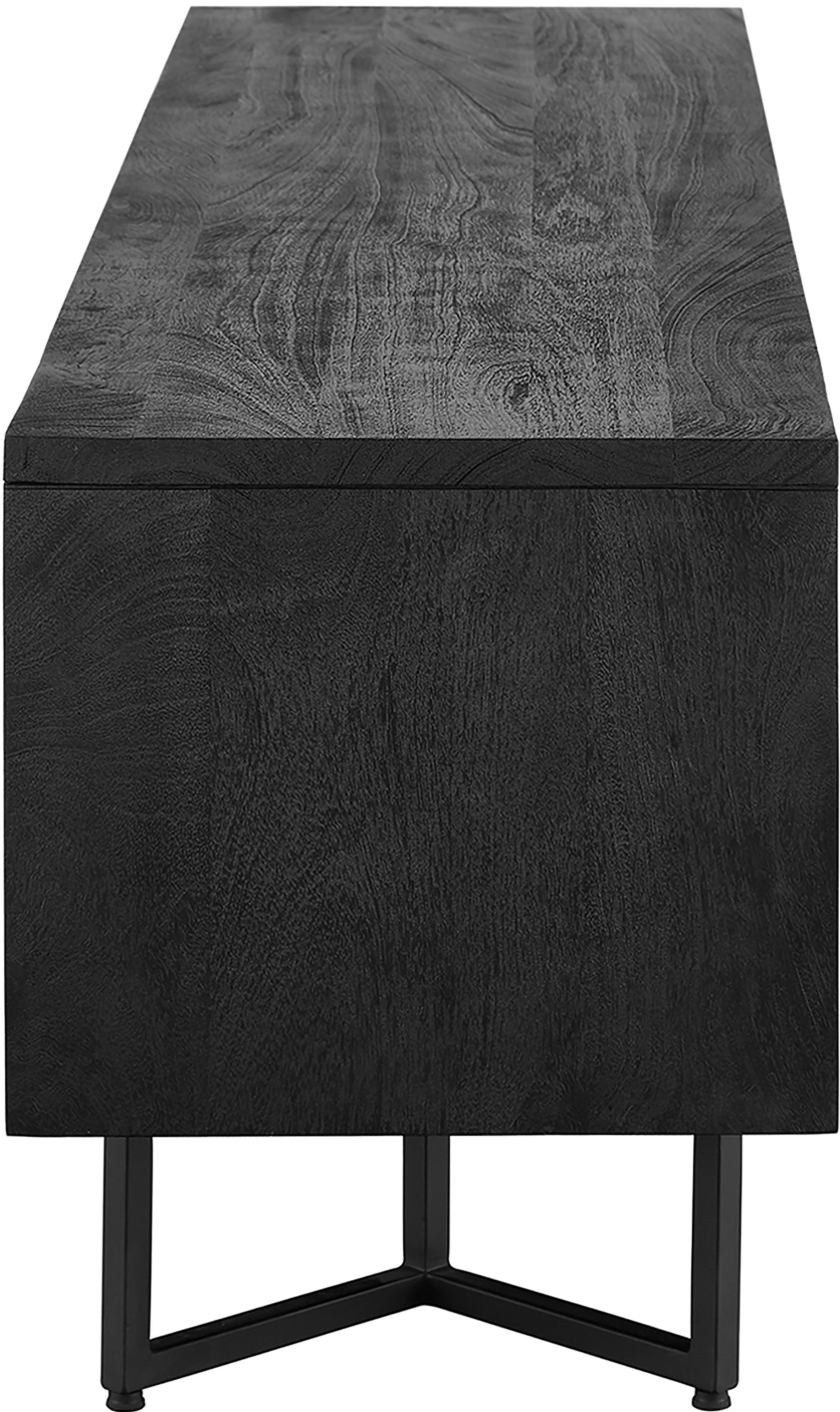 Credenza in legno massello Luca, Struttura: metallo verniciato a polv, Corpo: nero verniciato Struttura: nero opaco, Larg. 180 x Alt. 54 cm