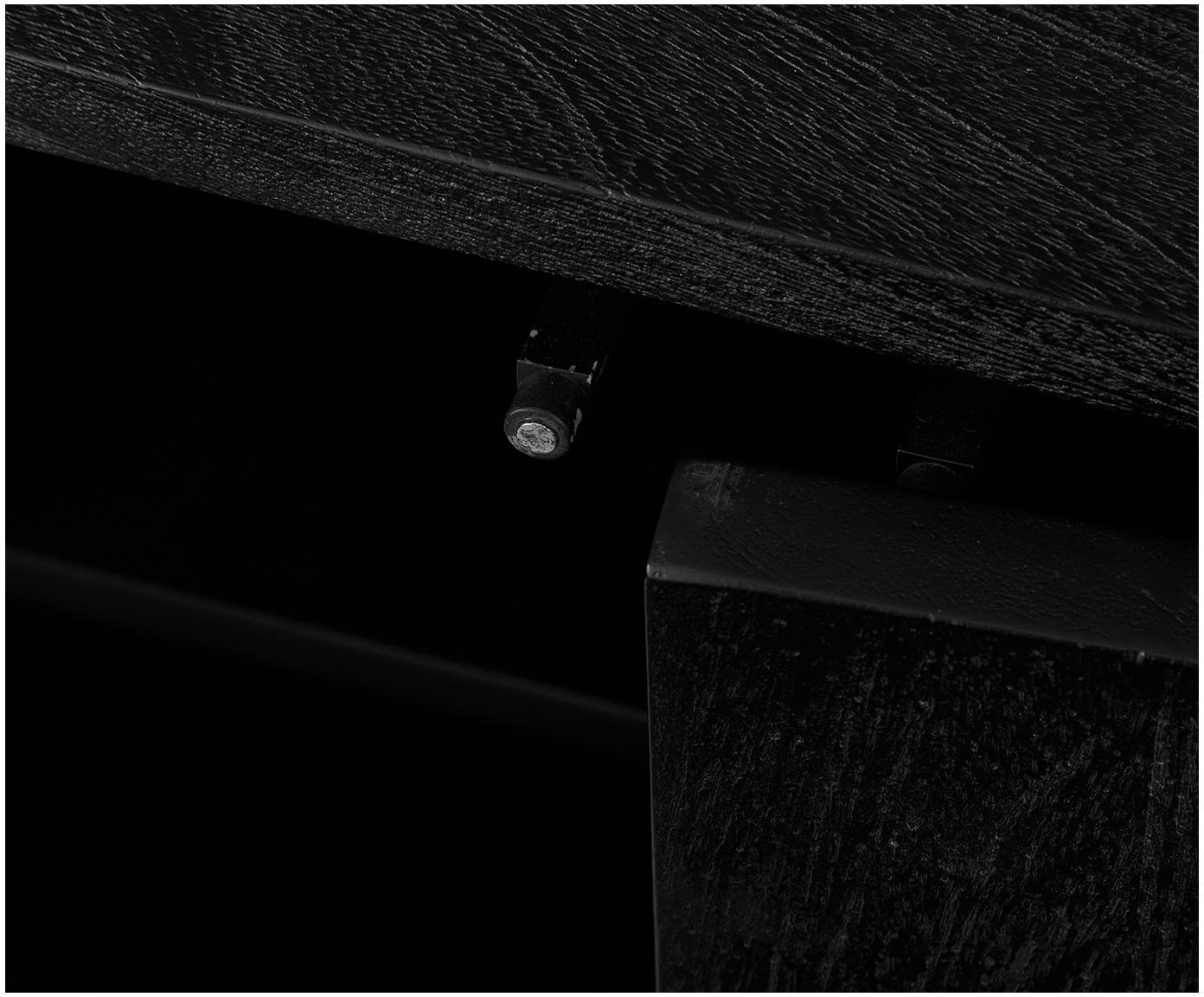 Lowboard Luca, Frame: gepoedercoat metaal, Raamwerk: zwart, gelakt. Frame: mat zwart, 180 x 54 cm