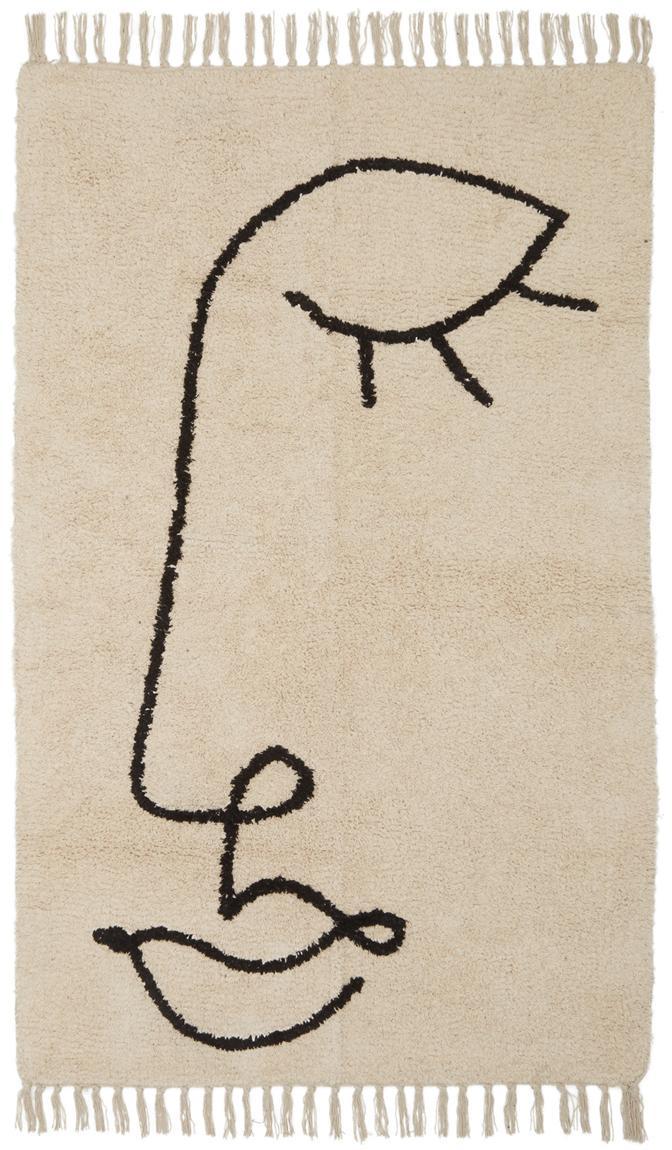 Dywan Closed Eye, Beżowy, czarny, S 90 x D 150 cm (Rozmiar XS)