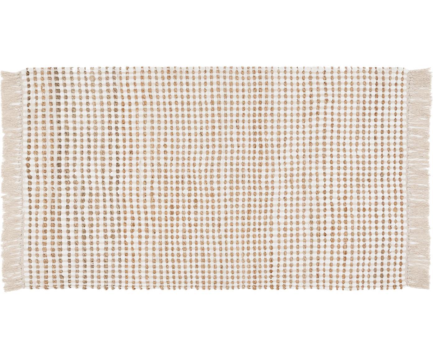 Alfombra de algodón/yute Fiesta, 55%algodón, 45%yute, Blanco, beige, An 90 x L 150 cm (Tamaño XS)