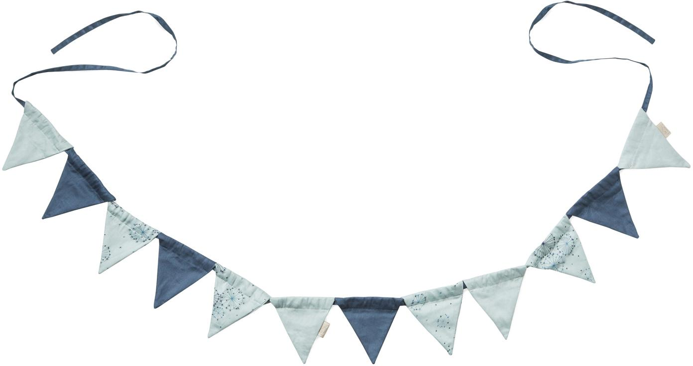 Ghirlanda in cotone organico Flags, 230cm, Cotone organico, certificato GOTS, Tonalità blu, Lung. 230  cm