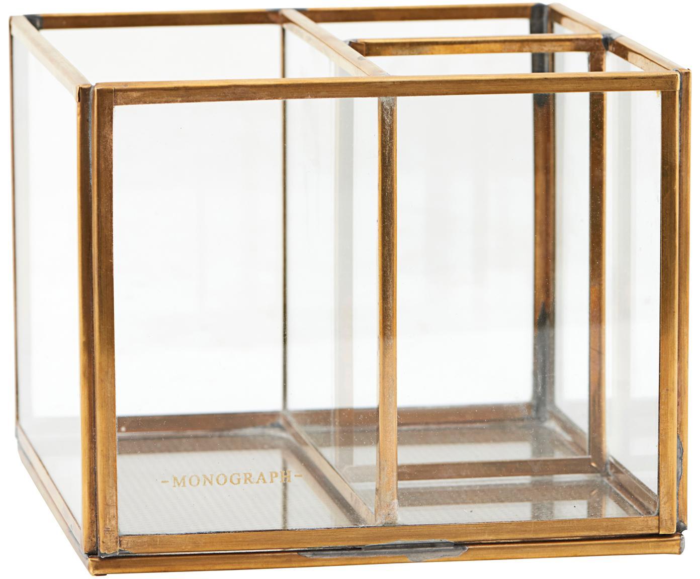 Organizer Sola, Messing, glas, Transparant, messingkleurig, 13 x 10 cm