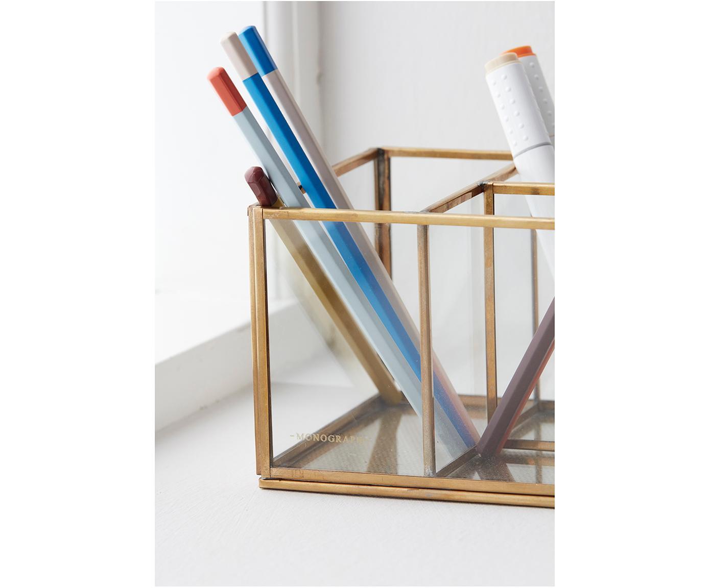 Organizer Sorted, Cornice: metallo ottonato, Trasparente, ottone, Larg. 13 x Alt. 10 cm