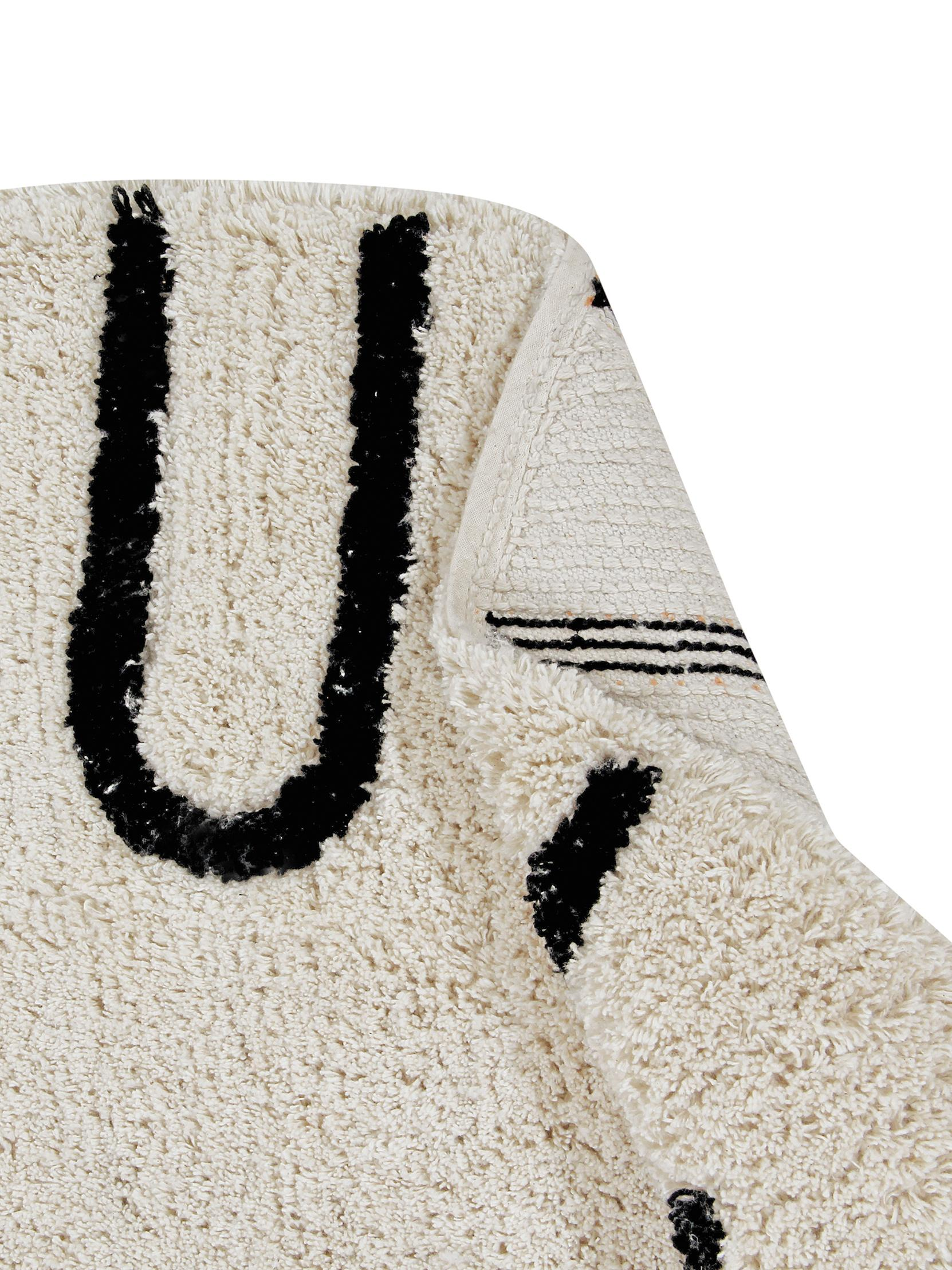Alfombra redonda de diseño ABC, Parte superior: 80%algodón, 20%algodón , Reverso: algodón reciclado, Beige, negro, Ø 150 cm (Tamaño M)