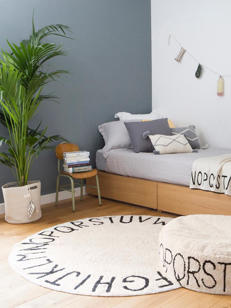Teppich ABC mit Buchstaben Design, rund, Flor: 80% Baumwolle, 20% recyce, Beige, Schwarz, Ø 150 cm (Größe M)